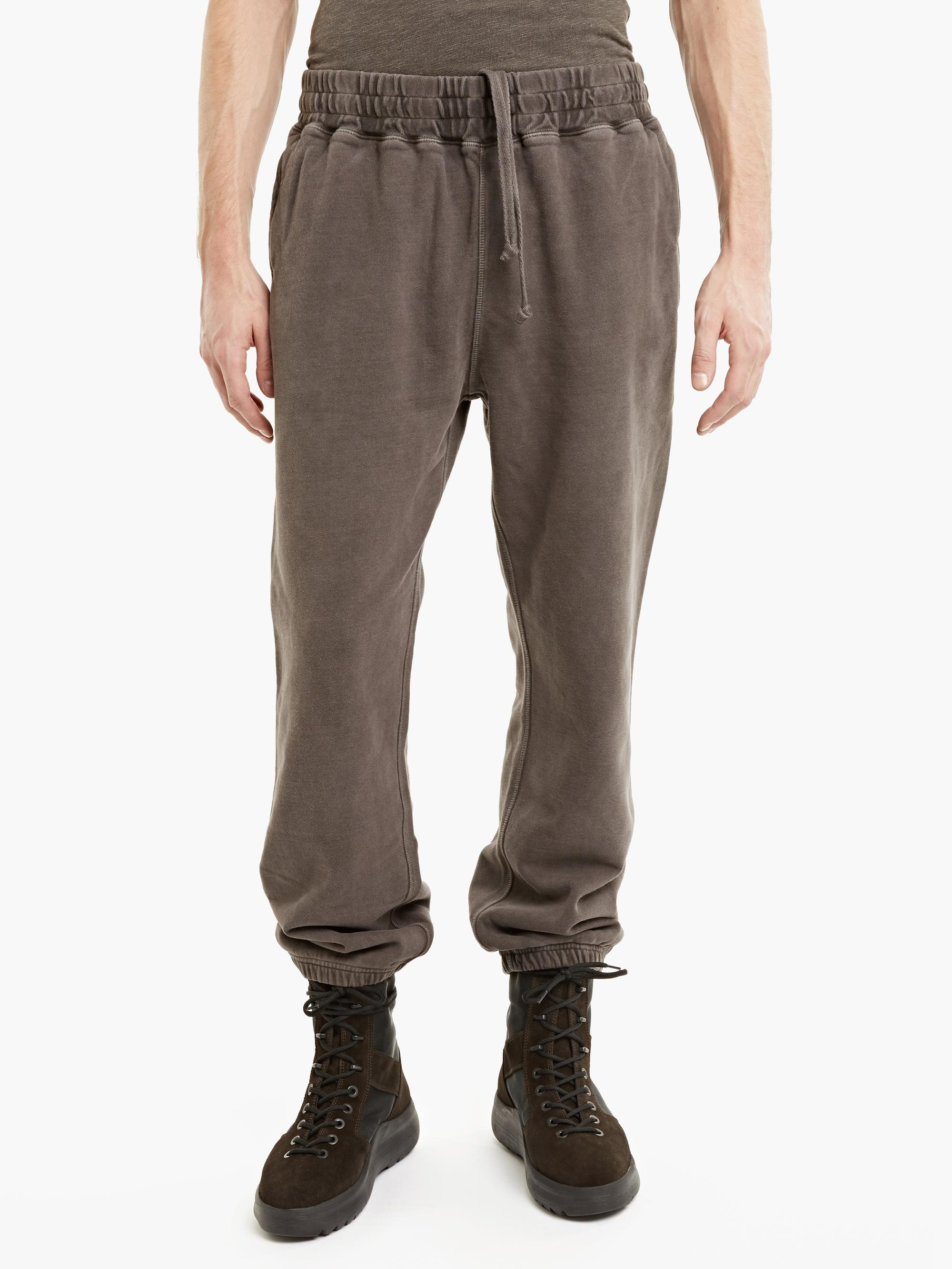 Yeezy Grey Washed Cotton Sweatpants In Gray For Men Lyst