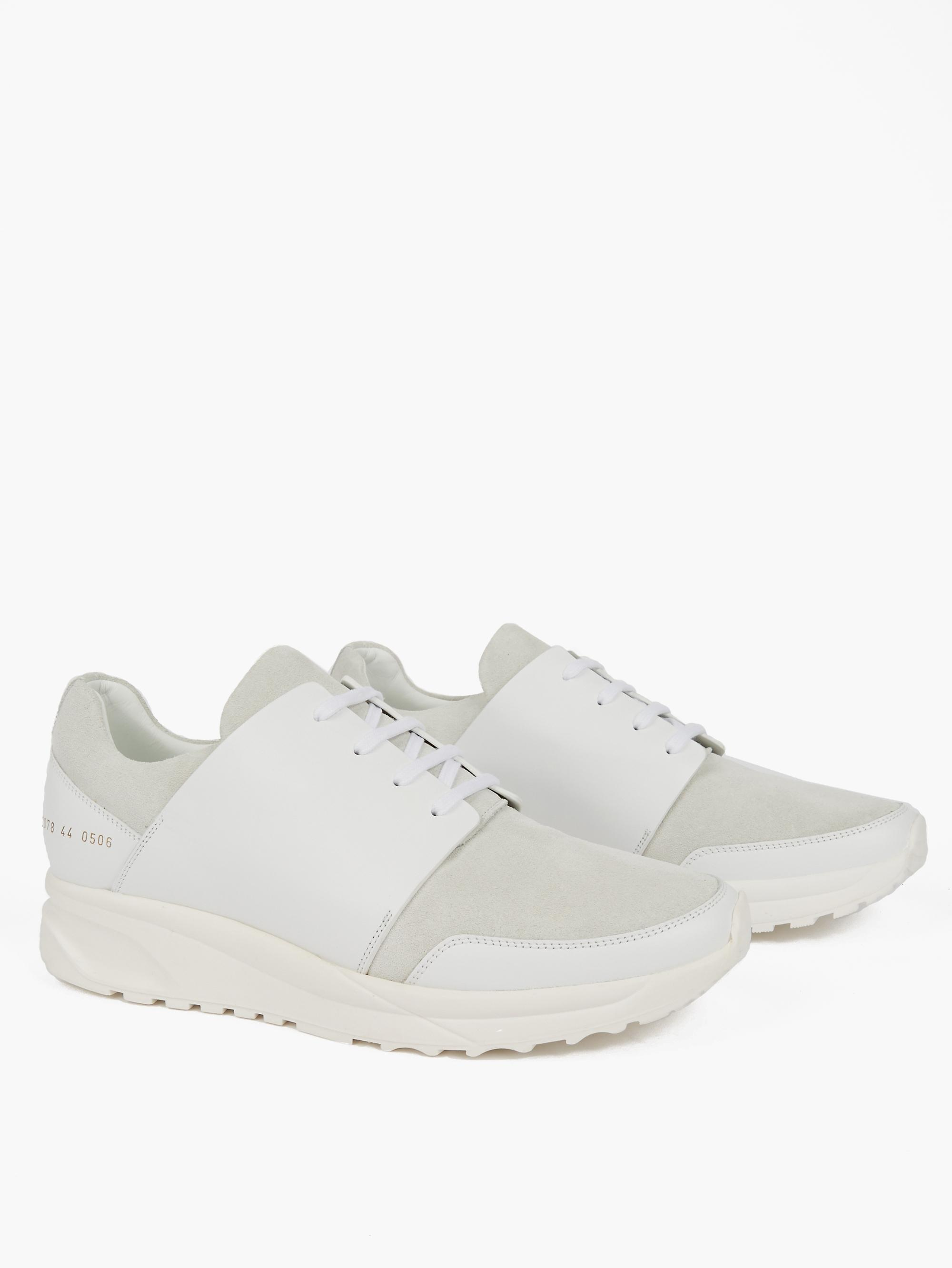 Common projects White Leather Track Sneakers in White for Men | Lyst