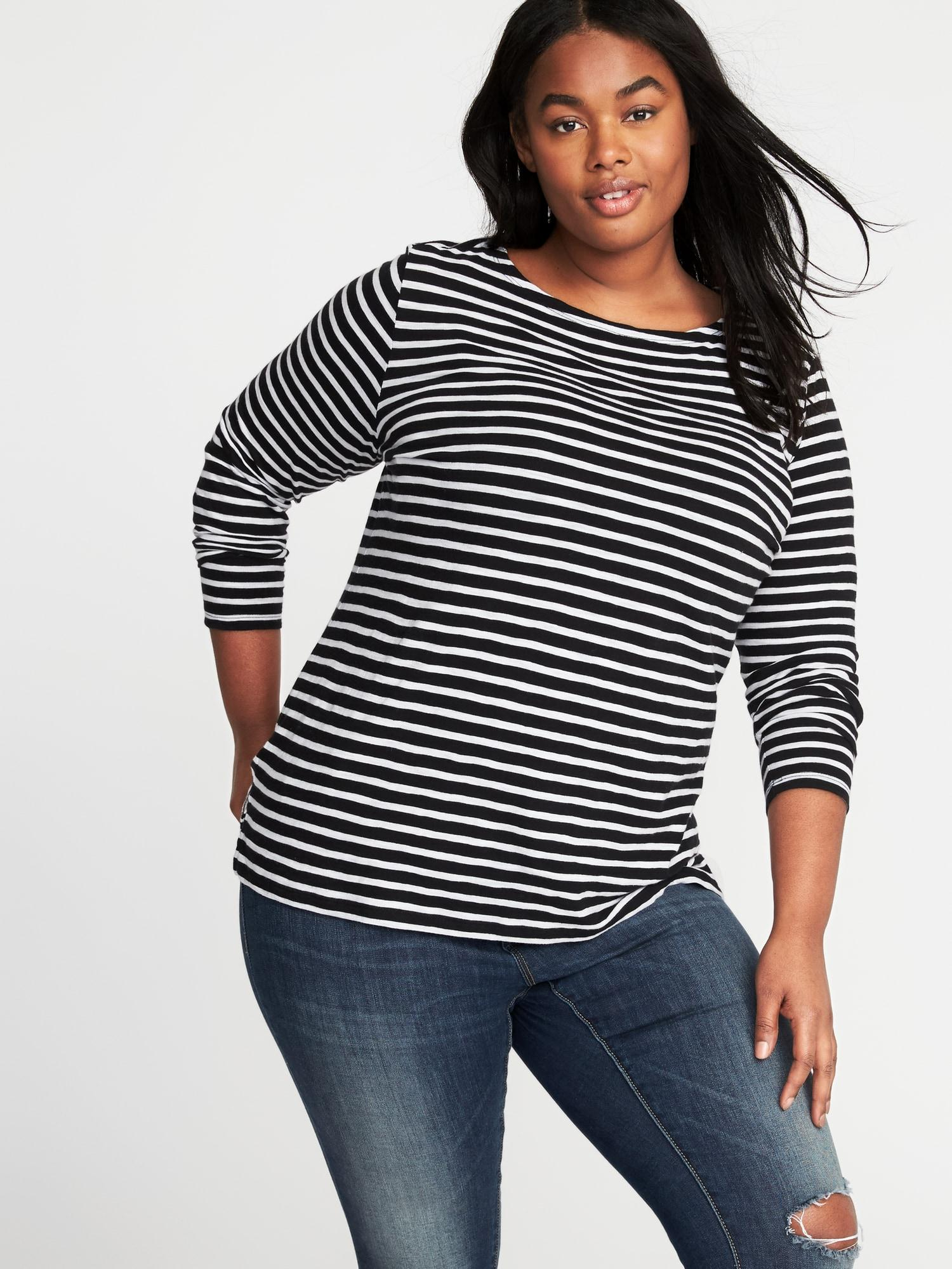 9fc36a0a5fb Lyst - Old Navy Mariner-stripe Plus-size Boat-neck Tee in Black