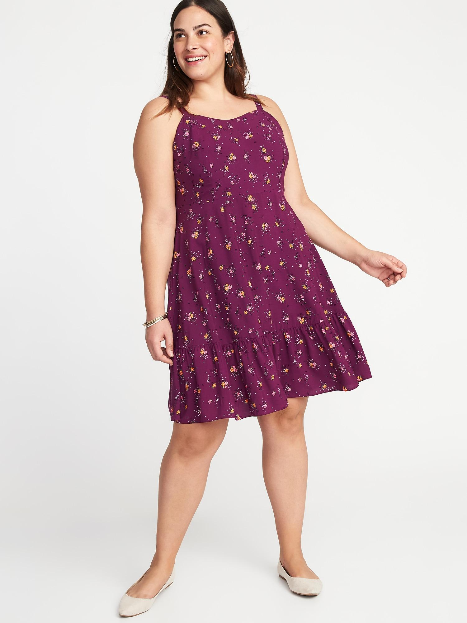 92f3683270a Lyst - Old Navy Floral Fit   Flare Plus-size Tiered Cami Dress in Purple