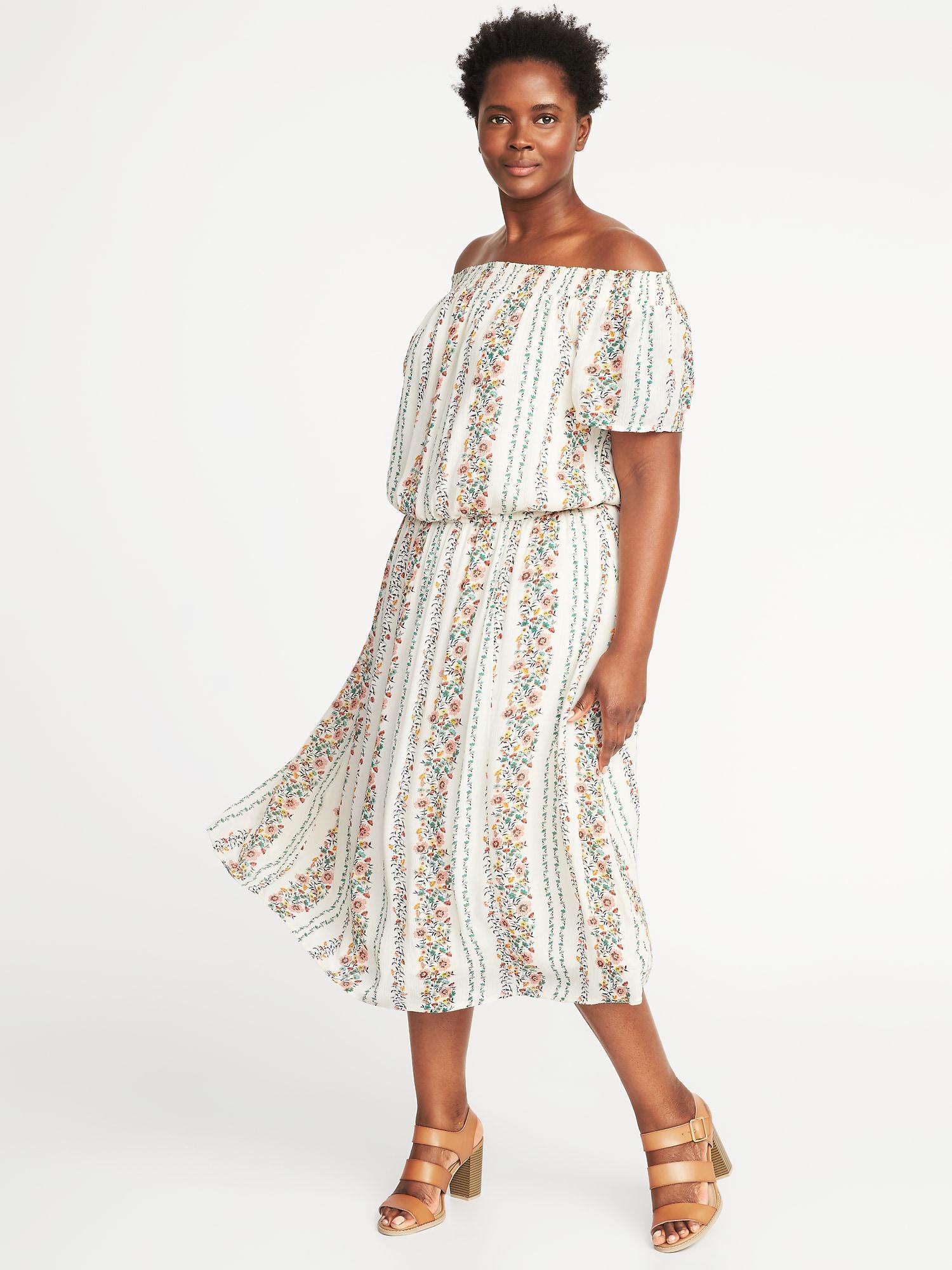 Off-the-shoulder Plus-size Midi Dress