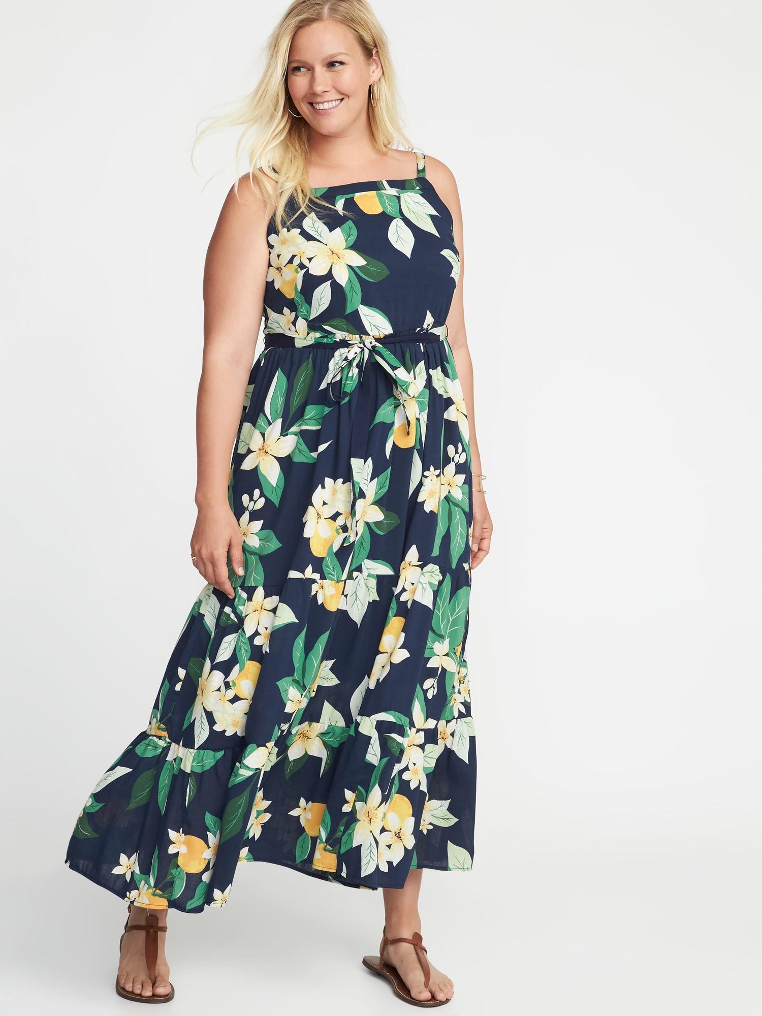 Tie-belt Plus-size Tiered Maxi Dress