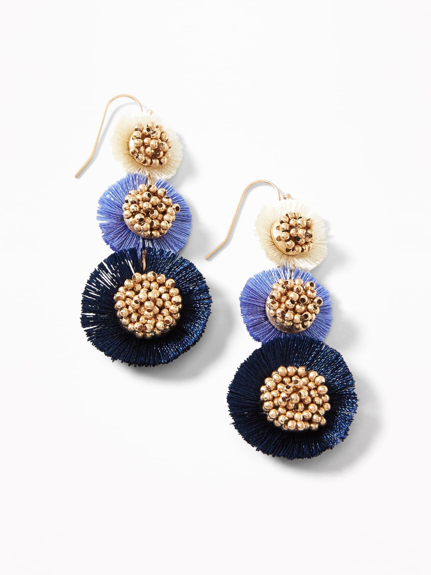 c6f72a83e3263 Old Navy Metallic Tiered Tassel Flower Drop Earrings