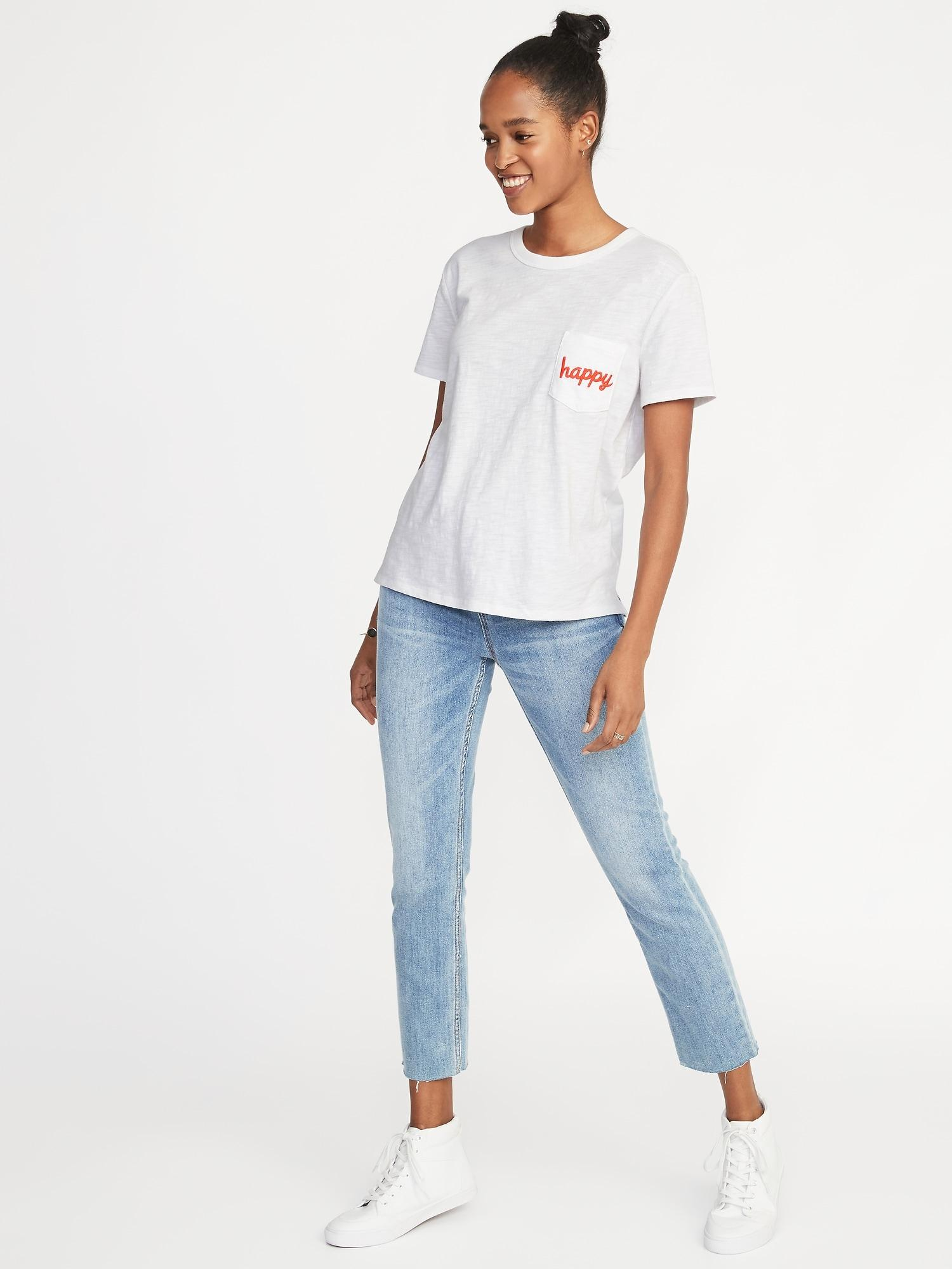 a14d7f393 Lyst - Old Navy Happy-graphic Boyfriend Tee in White