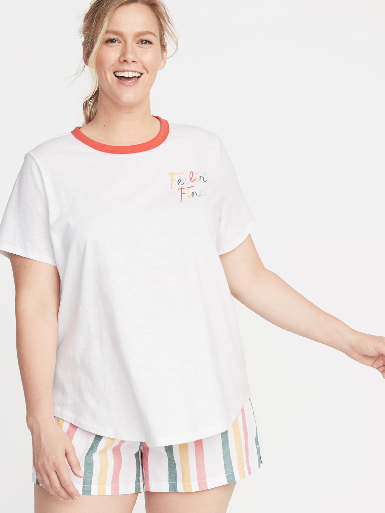 06d9844cc4d Lyst - Old Navy Everywear Plus-size Graphic Slub-knit Tee in White