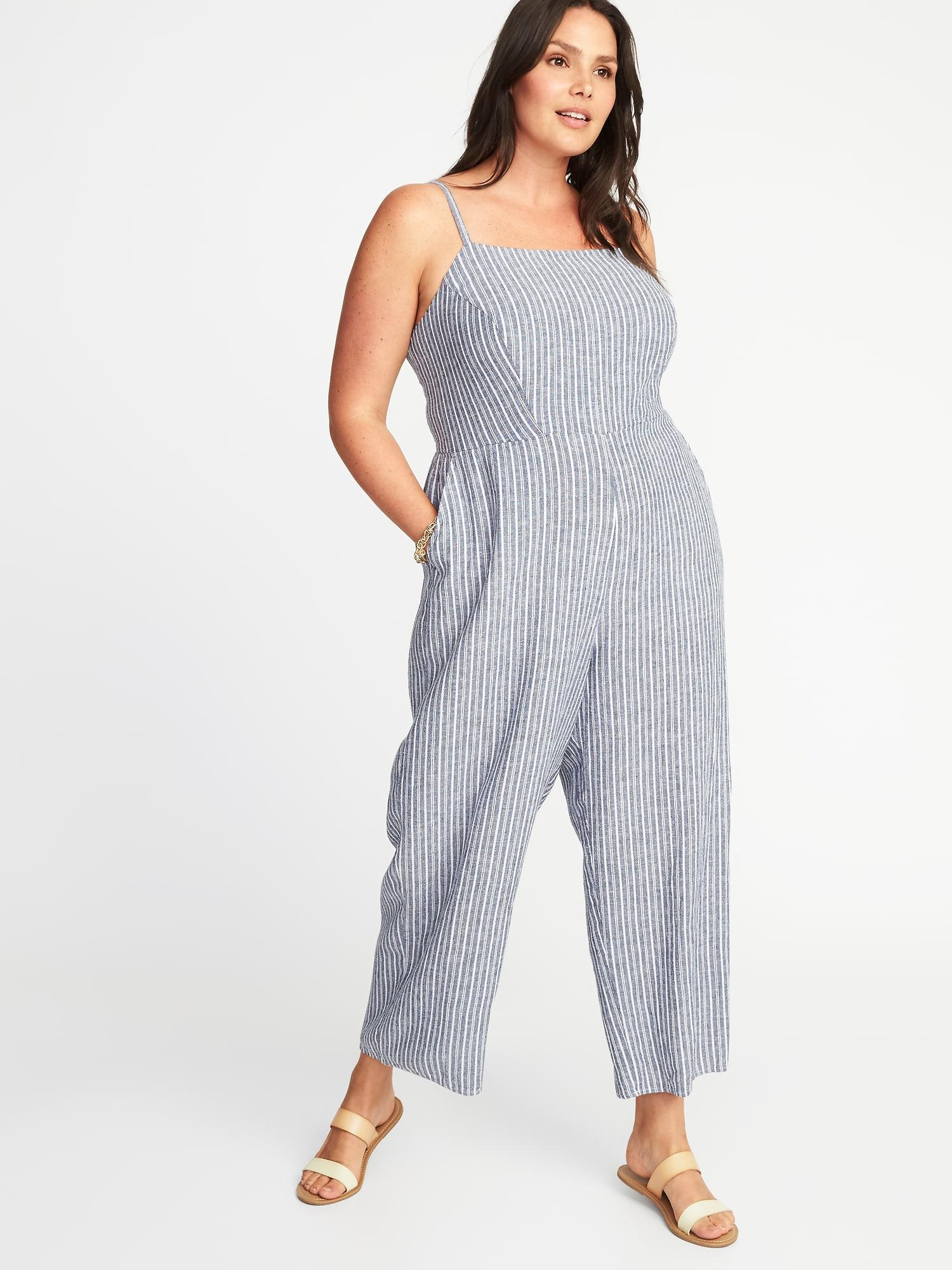 Lyst Old Navy Plus Size Striped Square Neck Jumpsuit In Blue