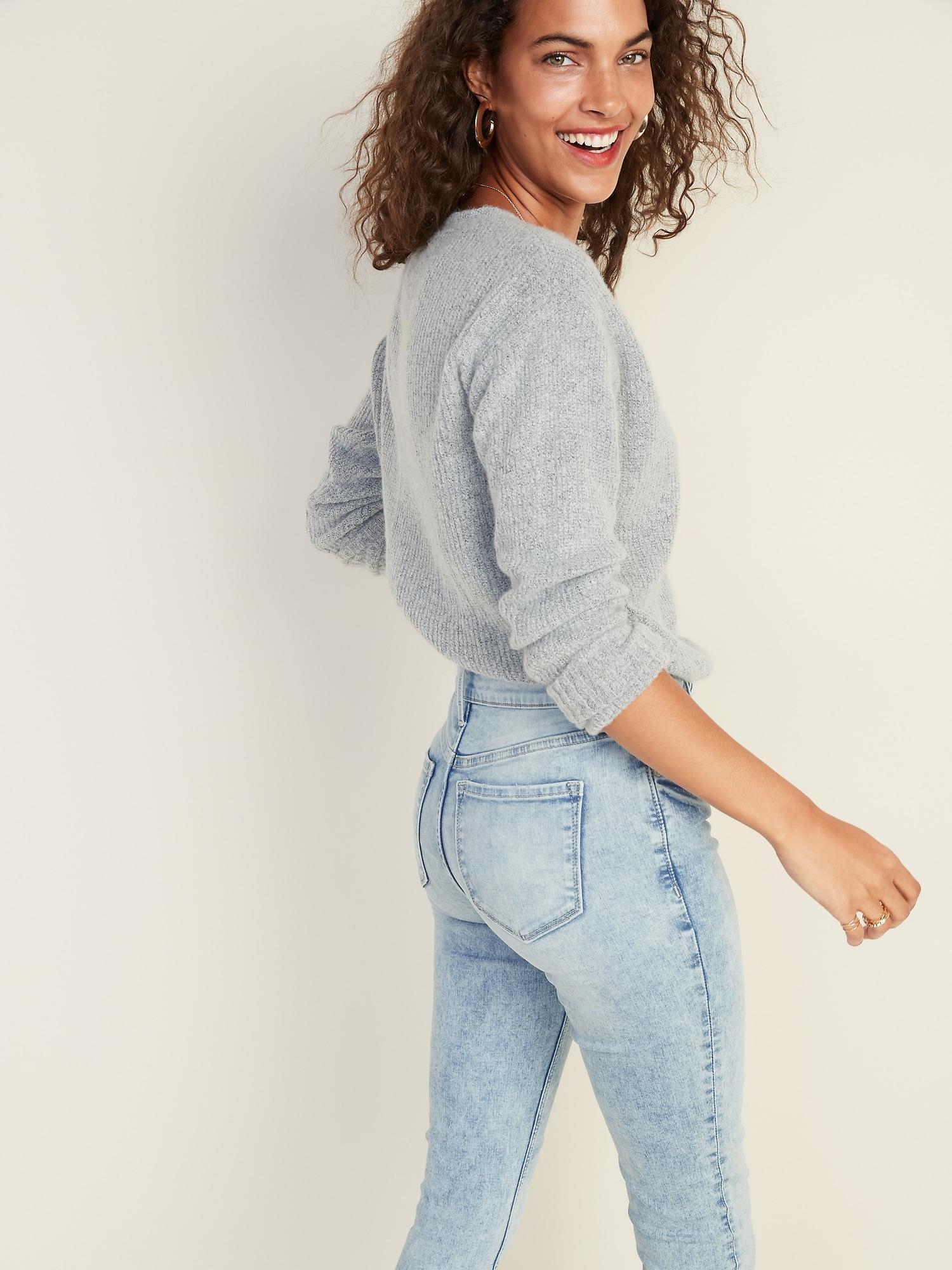 Womens Ladies Diamond Stud Knee Ripped Distressed Raw Edges Skinny Denim Jeans