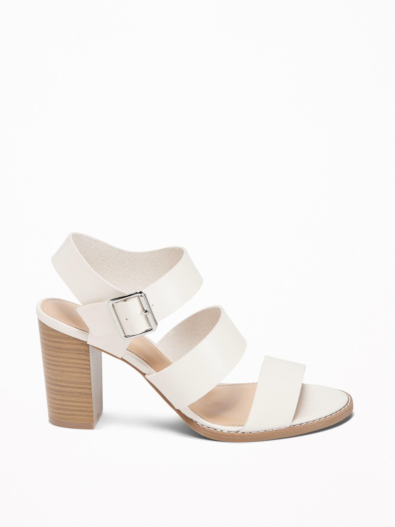 b5f74de8d317a Old Navy Three-strap Block-heel Sandals in White - Lyst