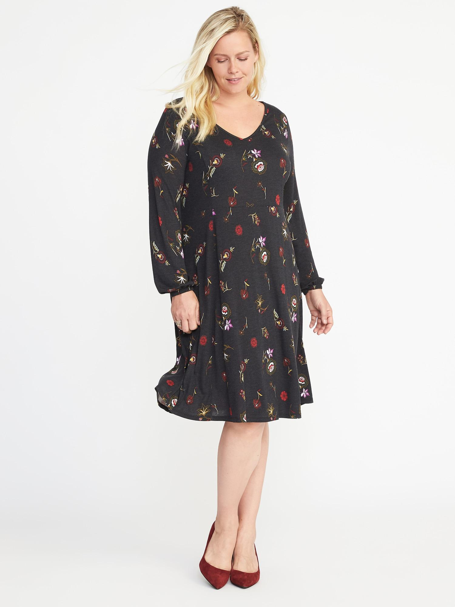 Fit & Flare Plus-size Floral Dress