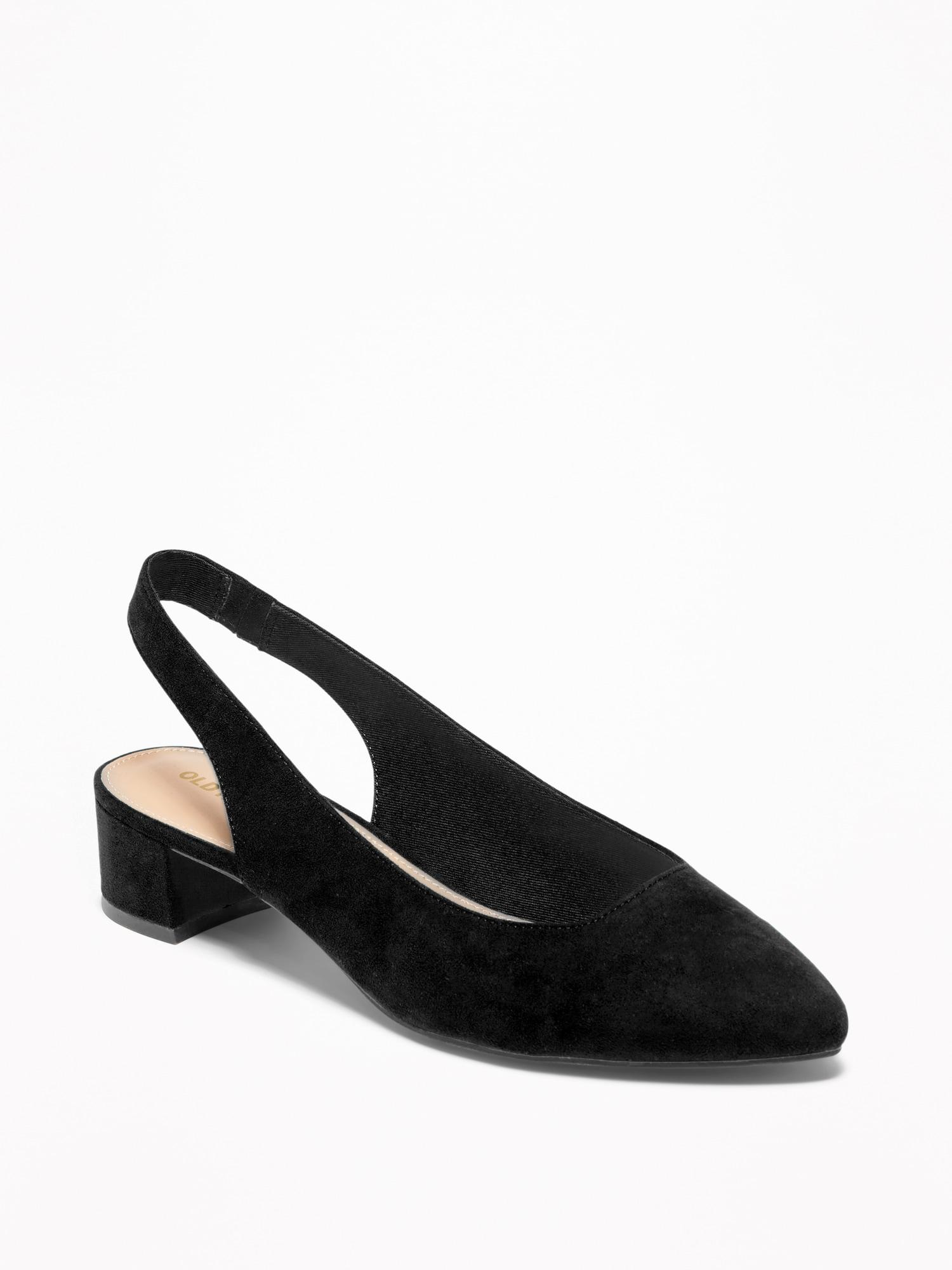 0480466d3b25 Lyst - Old Navy Faux-suede Sling-back Mid-heel Shoes in Black