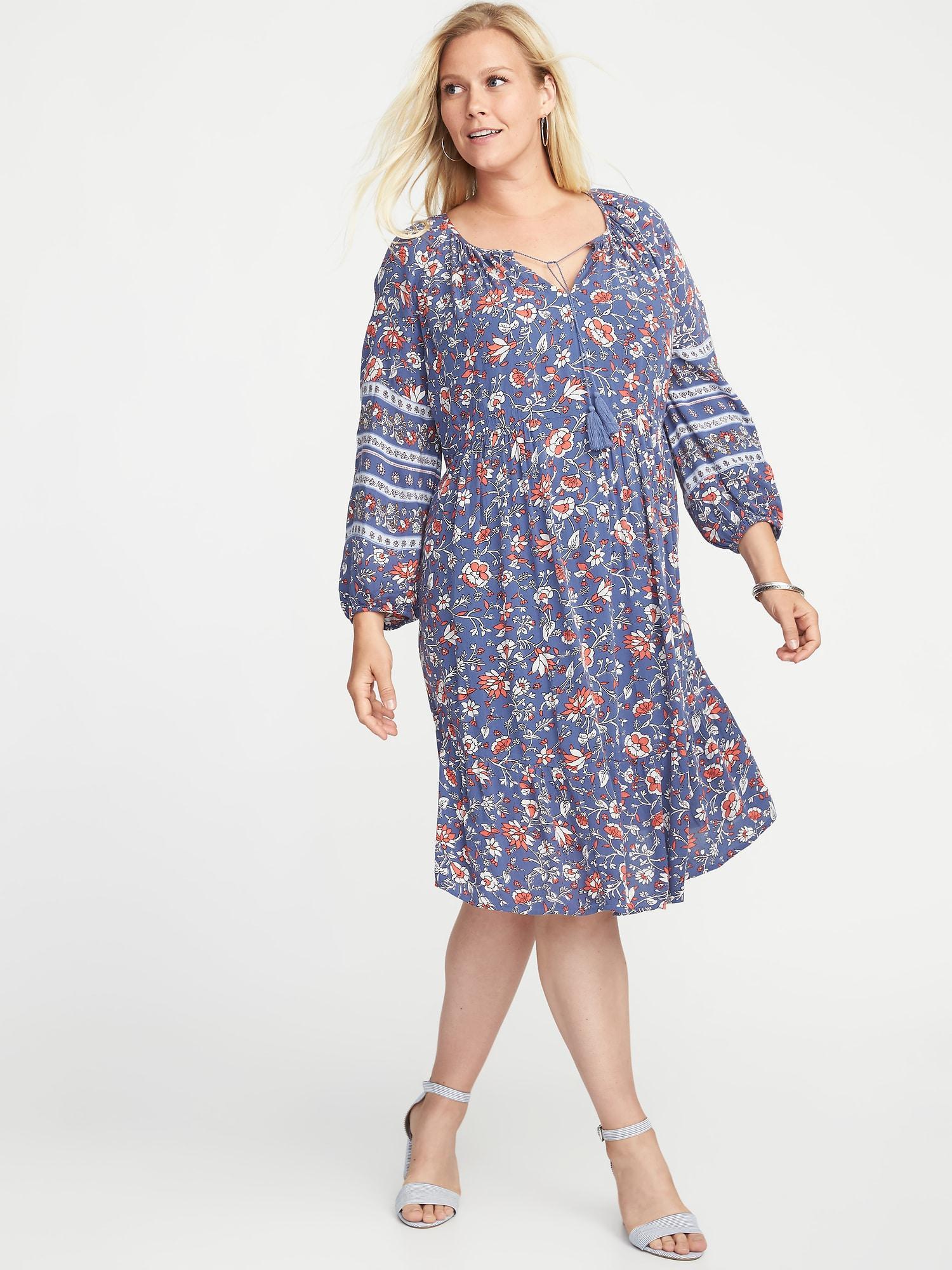 Plus-size Boho Tassel-tie Swing Dress