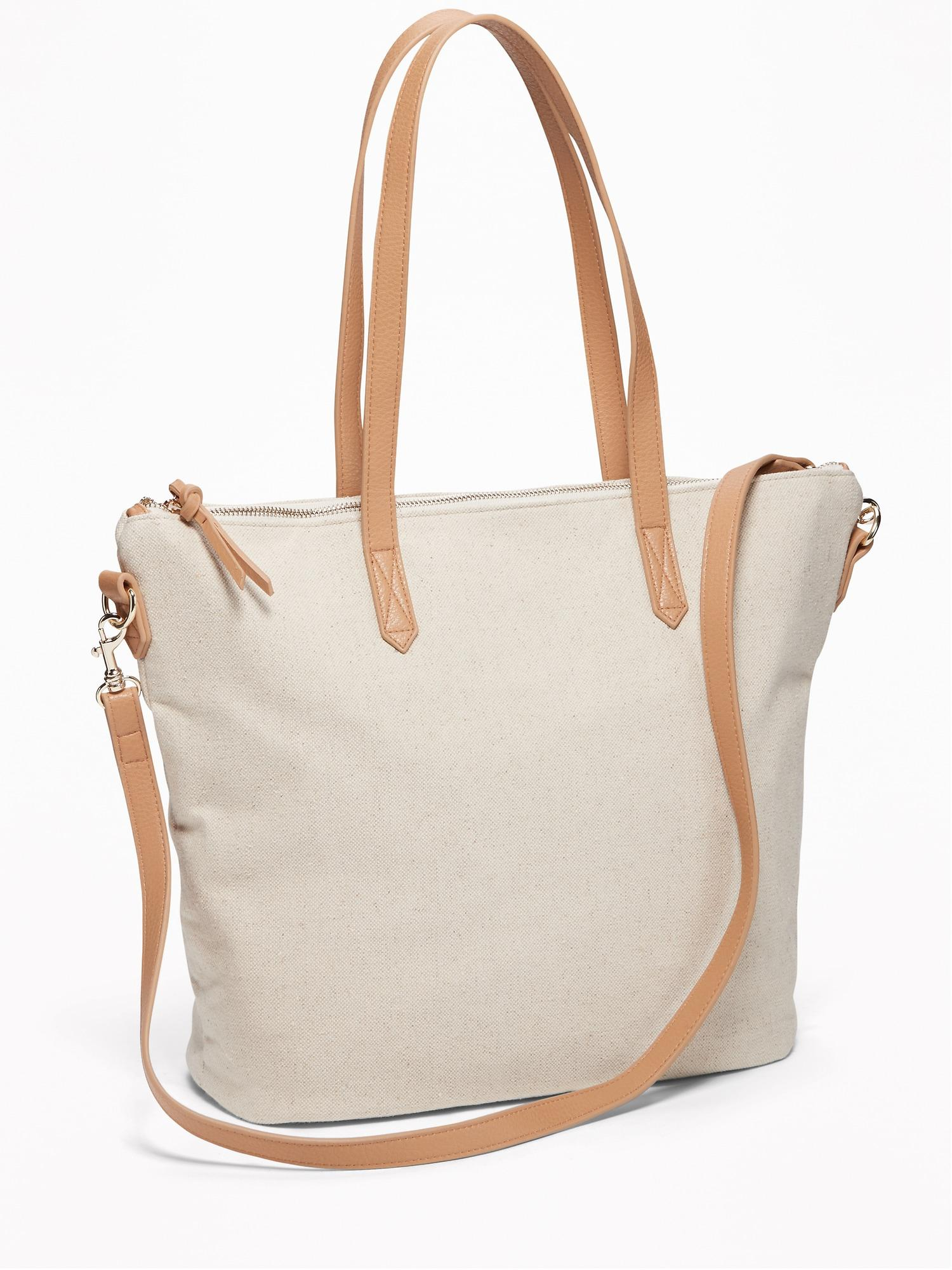 Old Navy Canvas Tote In Natural White