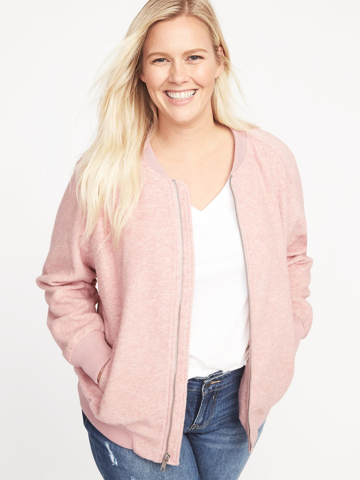 69d3c2bdcd7 Lyst - Old Navy Textured Jacquard Plus-size Bomber Jacket in Pink