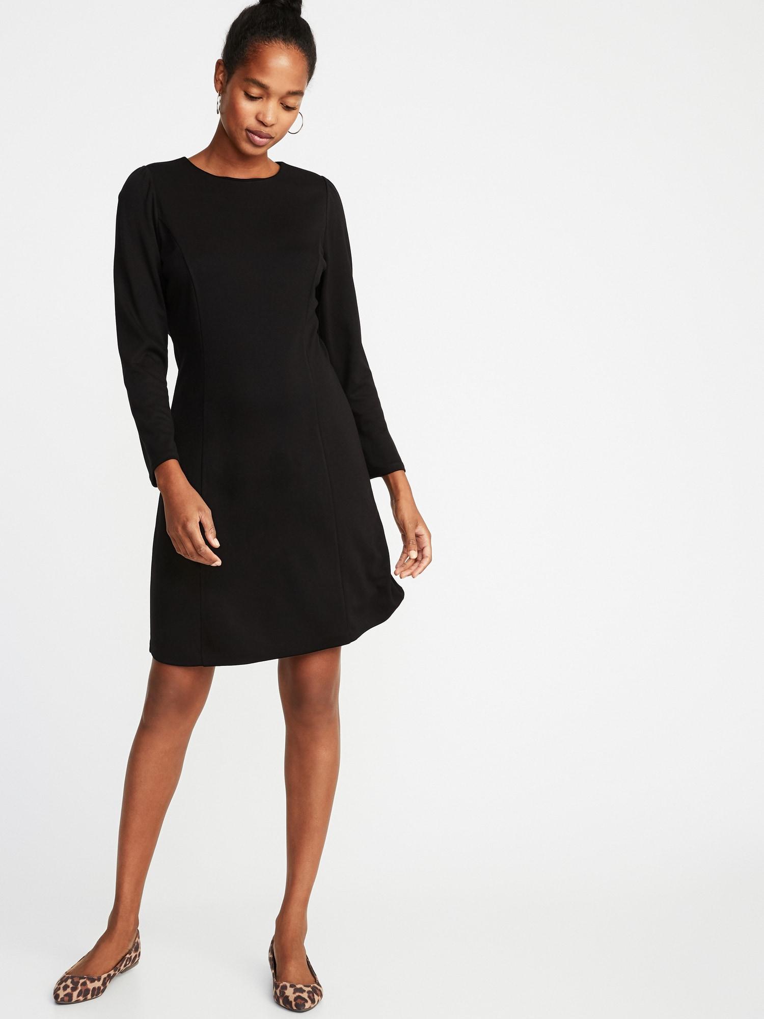 9ec249d0866 Lyst - Old Navy Ponte-knit Shirred-sleeve Sheath Dress in Black