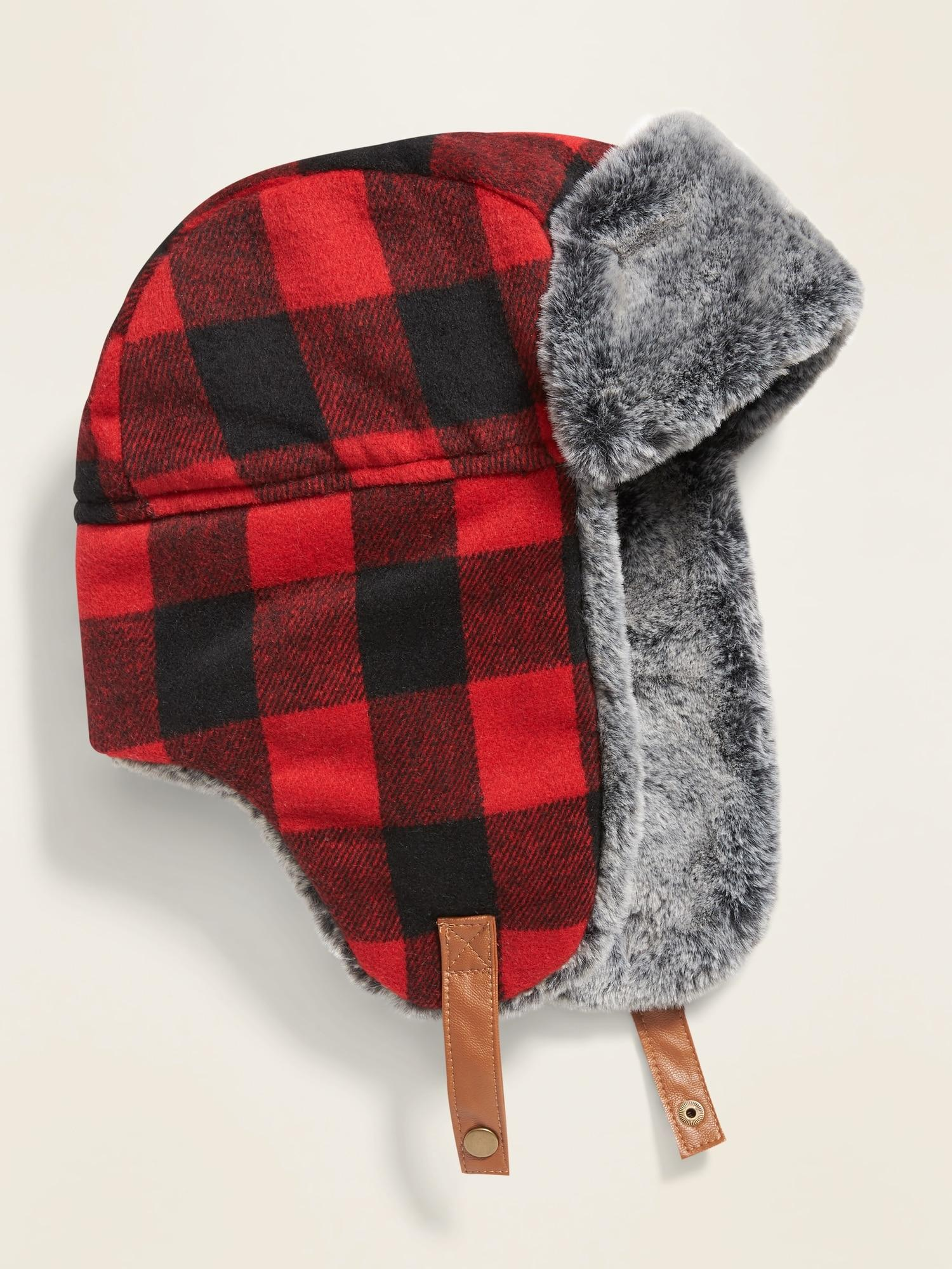 Navy Waxed Trapper Hat With Faux Fur Trim