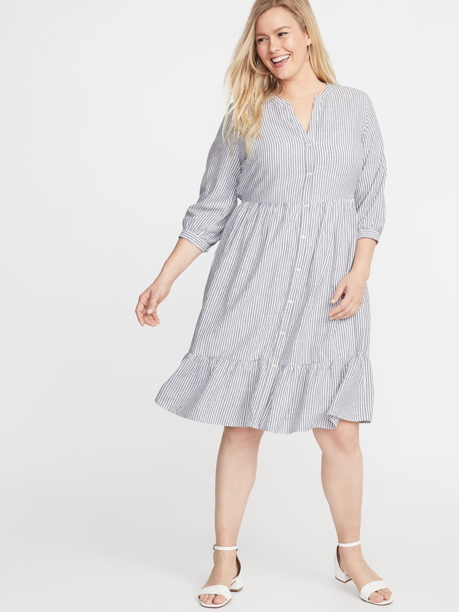 Waist-defined Plus-size Striped No-peek Shirt Dress