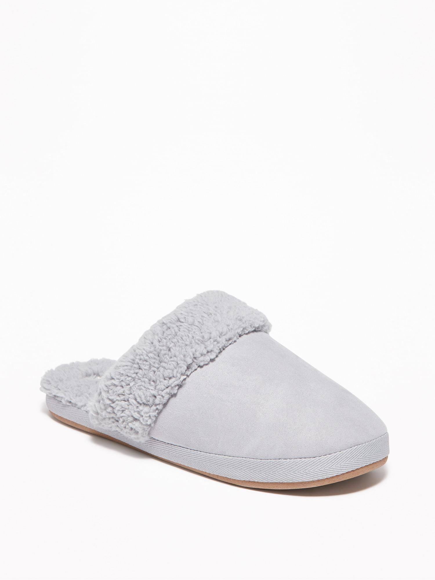 4a957e604de63 Lyst - Old Navy Faux-suede Sherpa-lined Slide Slippers in Gray
