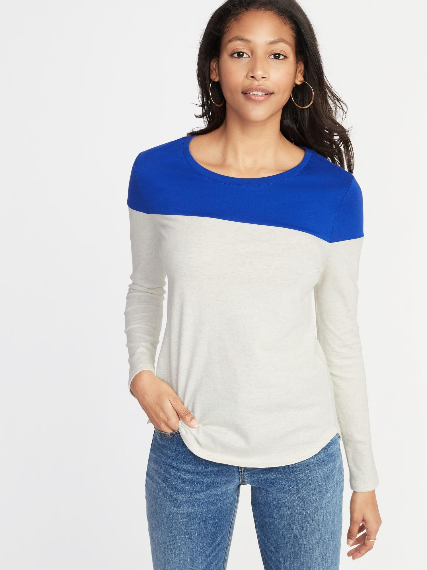 b481e5ea042 Lyst - Old Navy Everywear Color-block Tee in Blue
