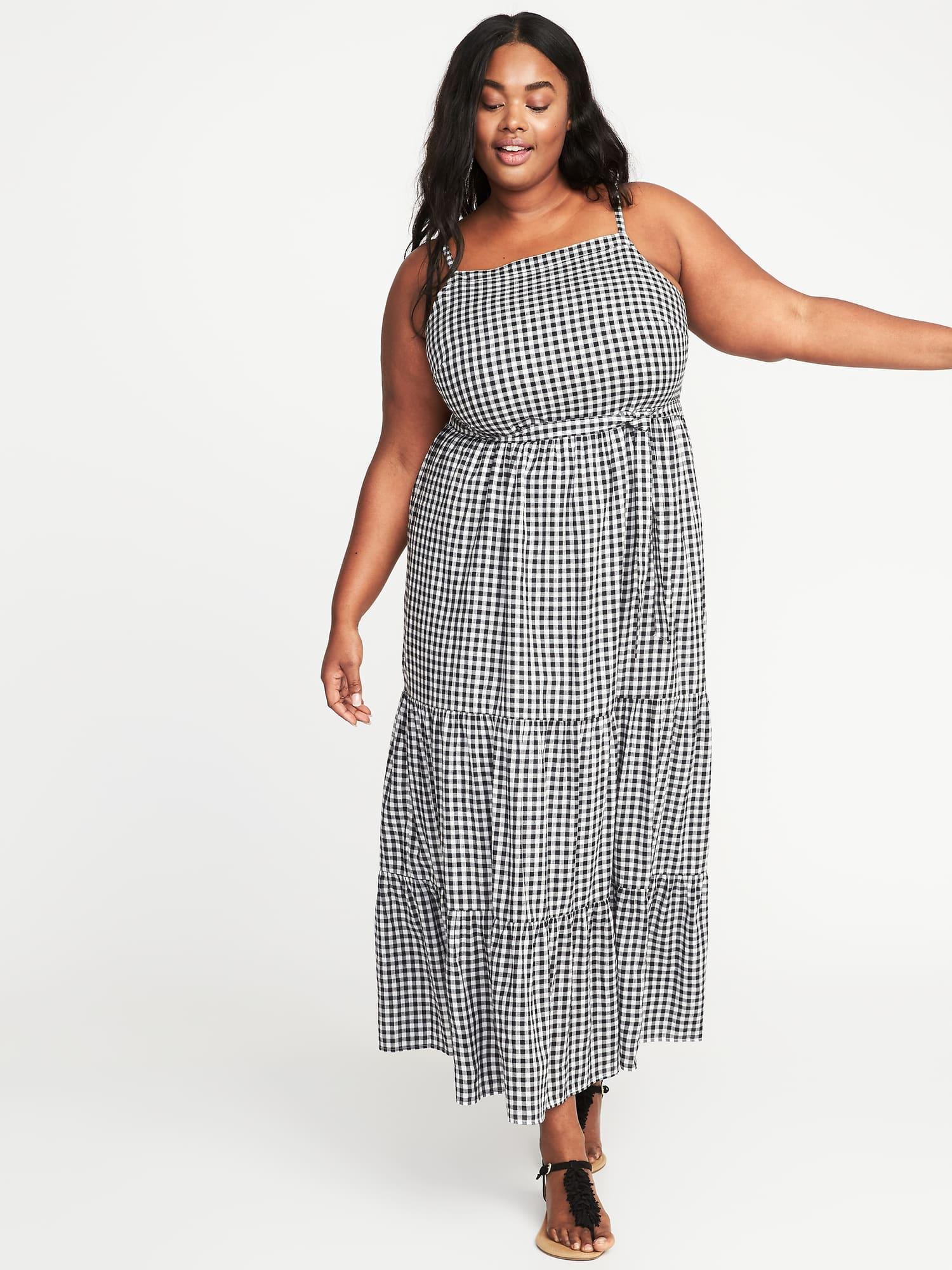 Tie-belt Plus-size Gingham Maxi Dress