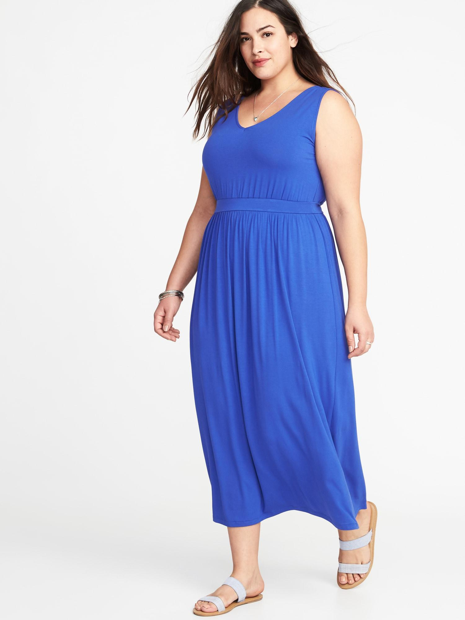 Old Navy Blue Empire-waist Plus-size V-neck Maxi Dress