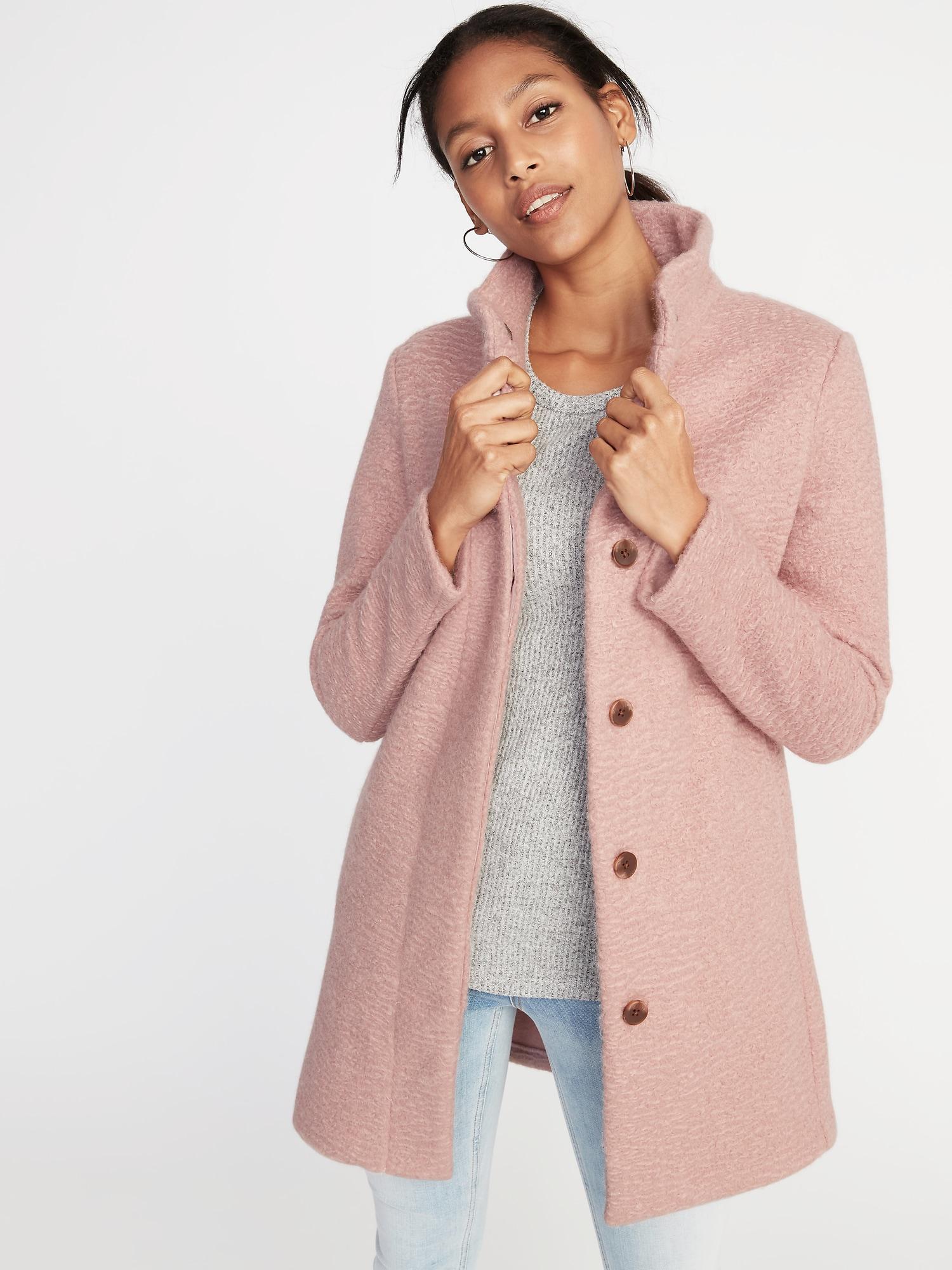 731c5777739 Lyst - Old Navy Mock-neck Bouclé Coat in Pink
