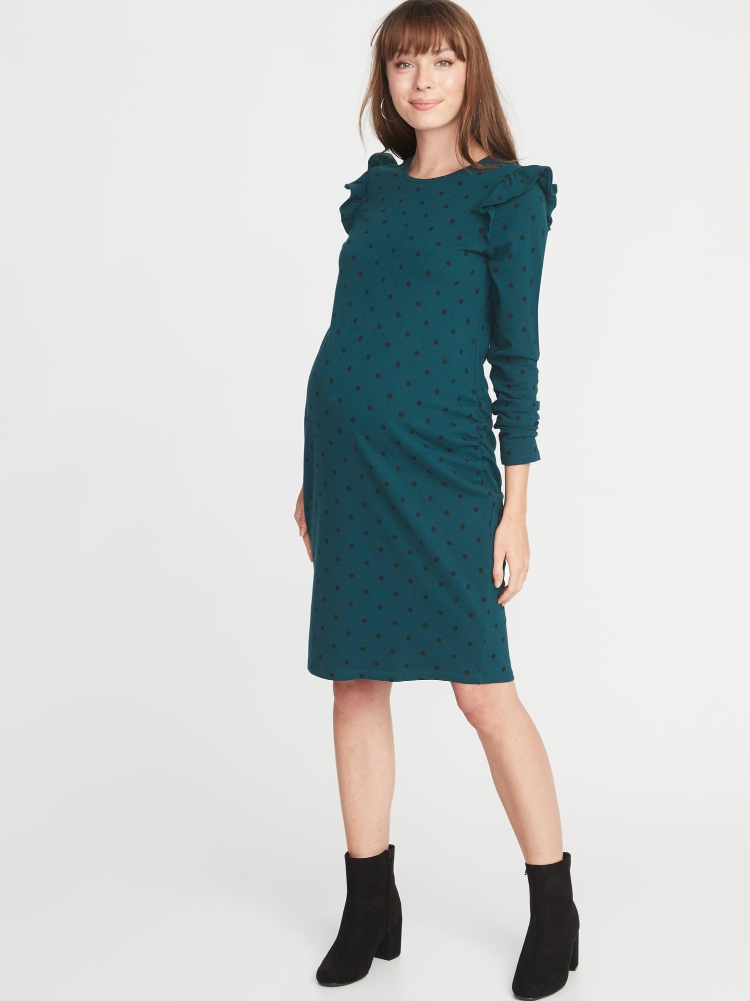 ef7ad1e6755 Lyst - Old Navy Maternity Ruffle-shoulder Bodycon Dress in Green