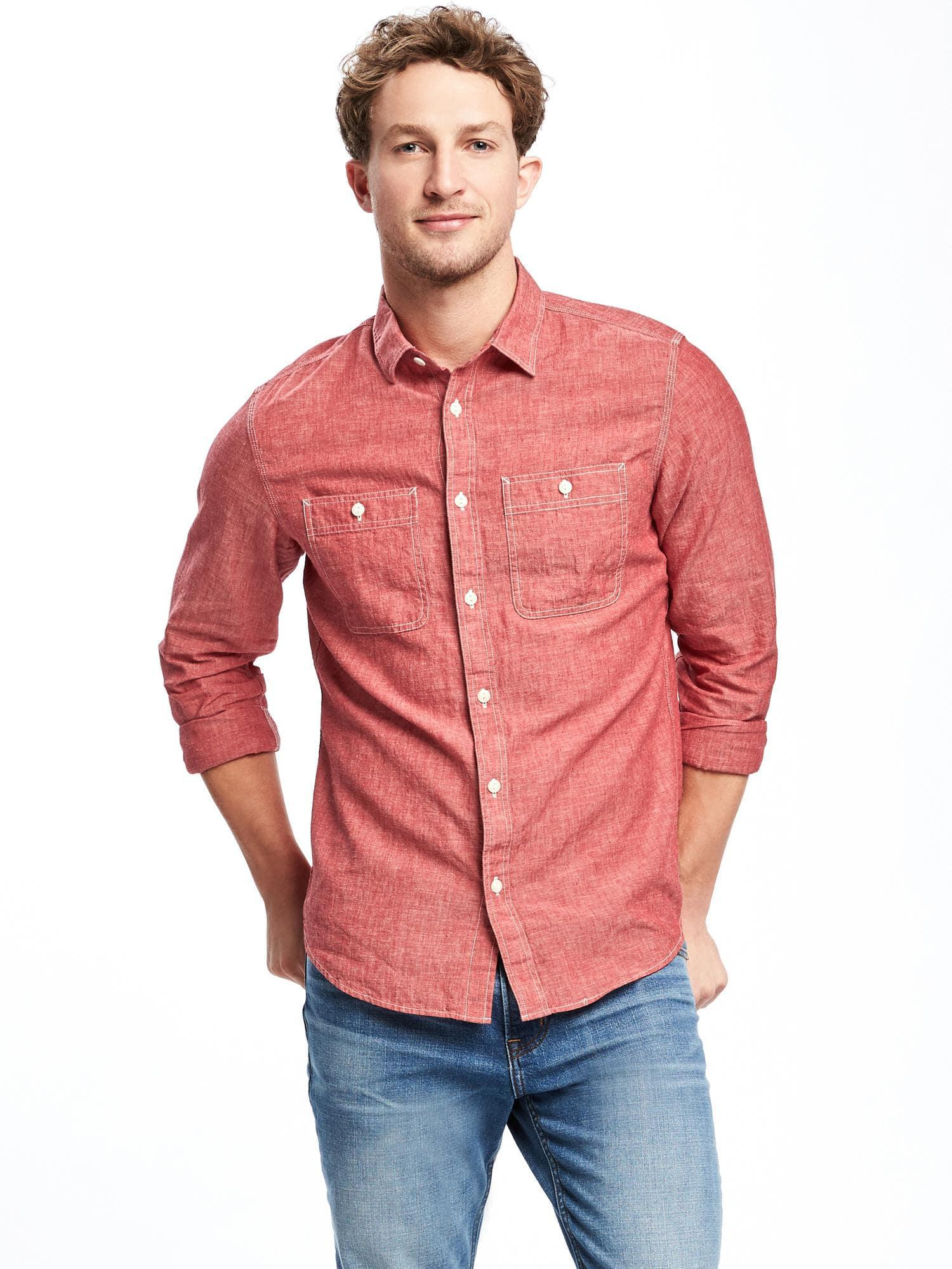 d5e955438ae Lyst - Old Navy Slim-fit Linen-blend Chambray Shirt in Red for Men