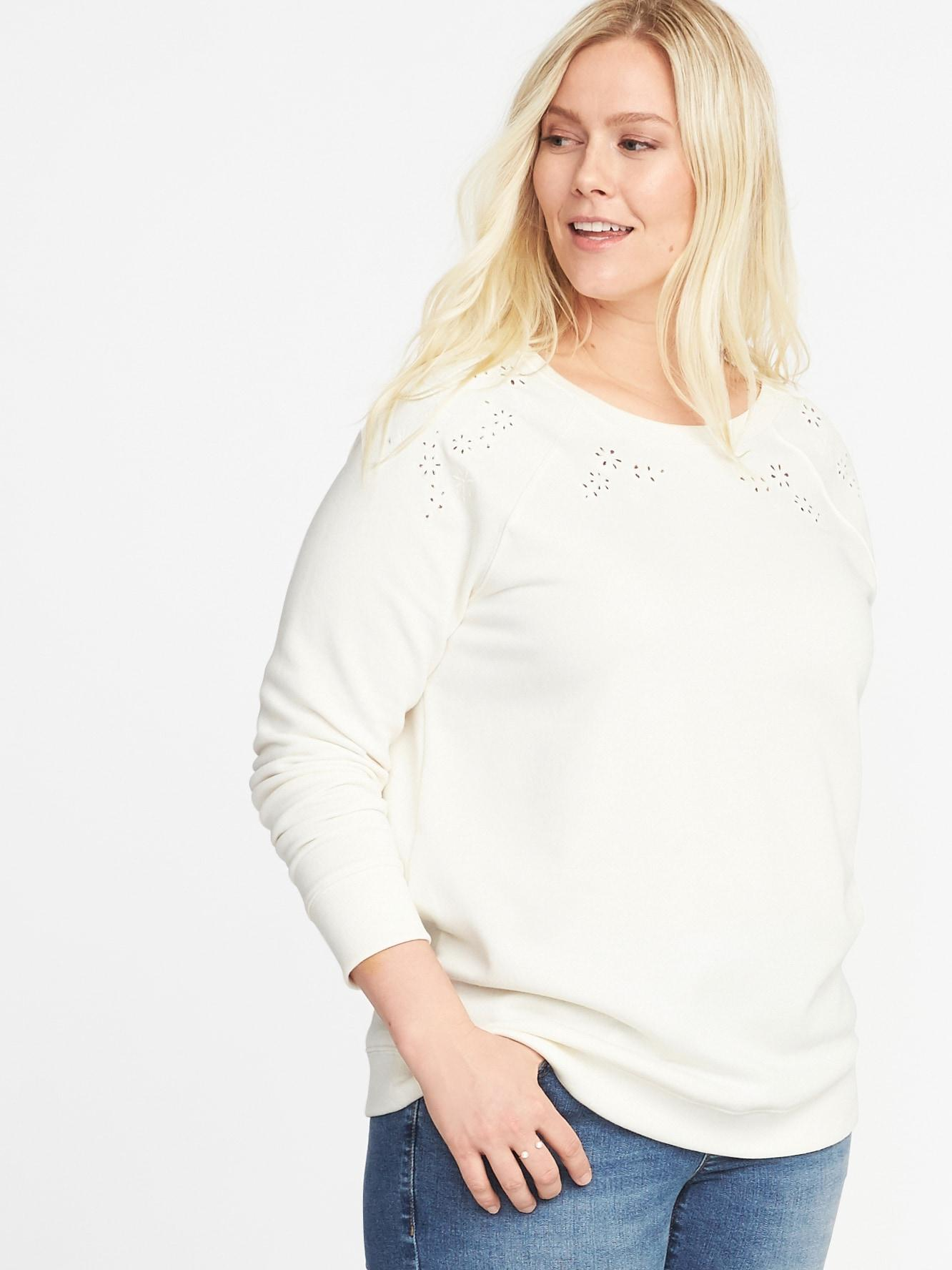 e112898b9ef Lyst - Old Navy Relaxed French Terry Eyelet Plus-size Sweatshirt
