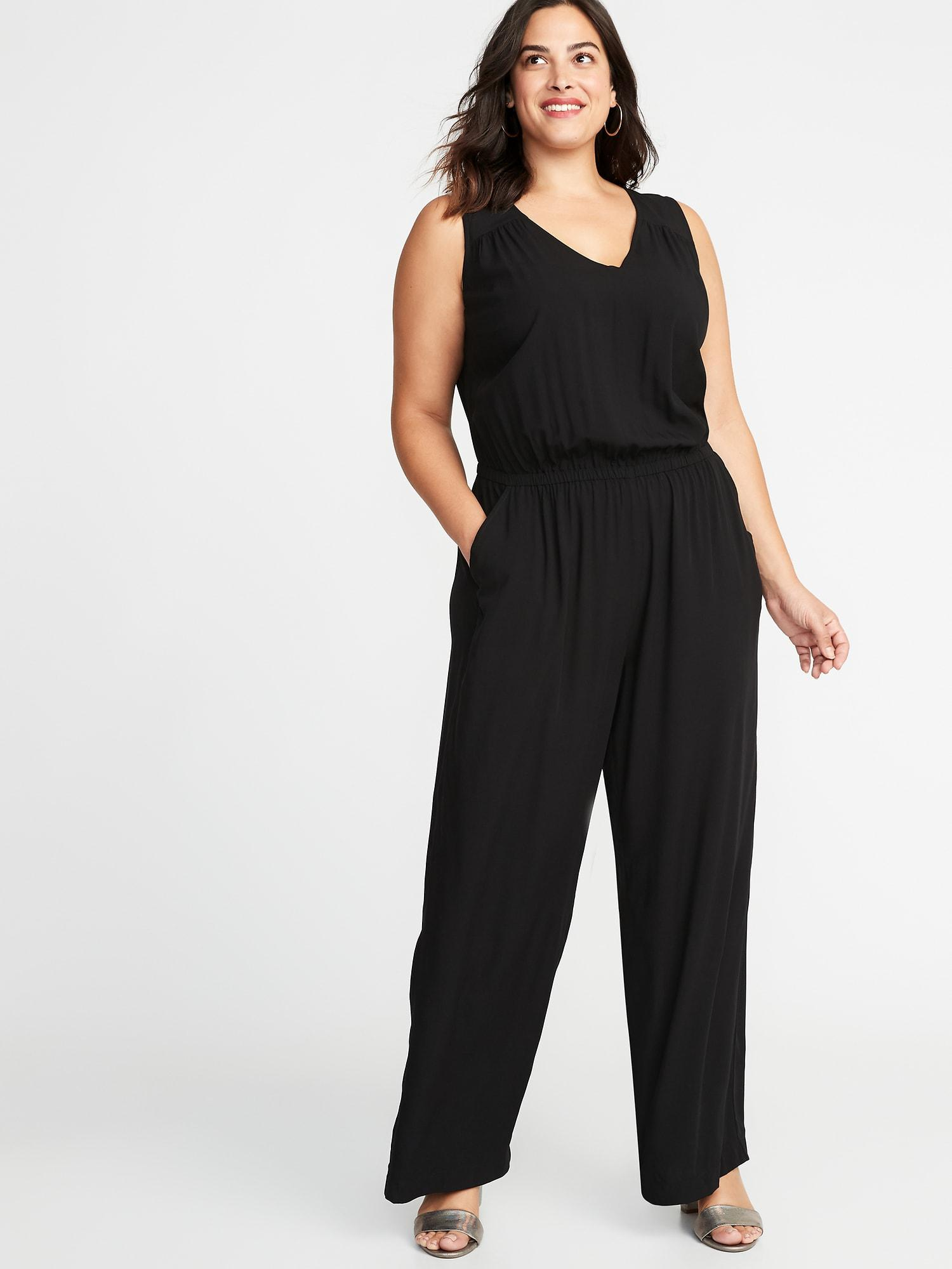 4e7924c8c37 Lyst - Old Navy Waist-defined Plus-size Sleeveless Jumpsuit in Black