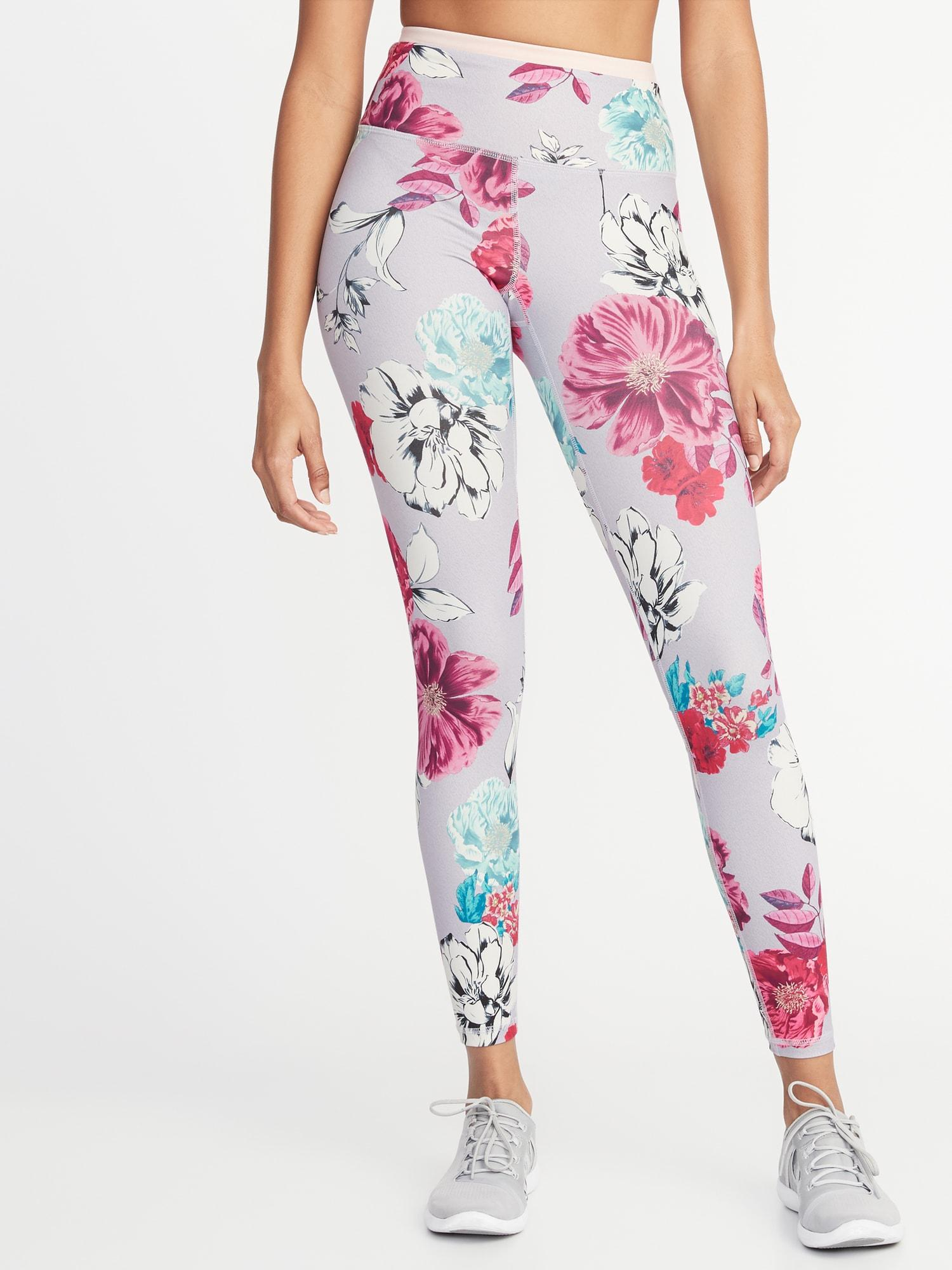 bbfb393fe2f Lyst - Old Navy High-rise Elevate Floral Compression Leggings in Pink