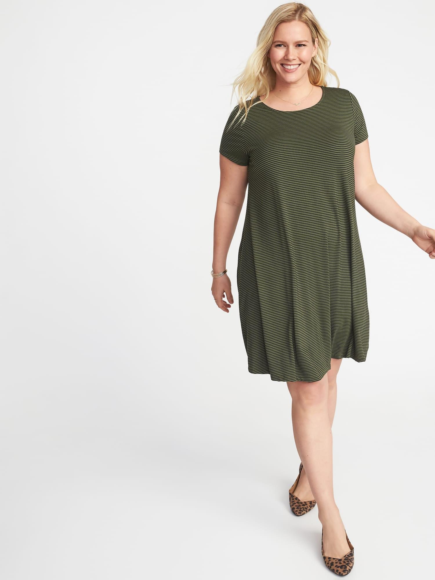 6dc58dc76ce Old Navy Short-sleeve Plus-size Jersey-knit Swing Dress in Green - Lyst