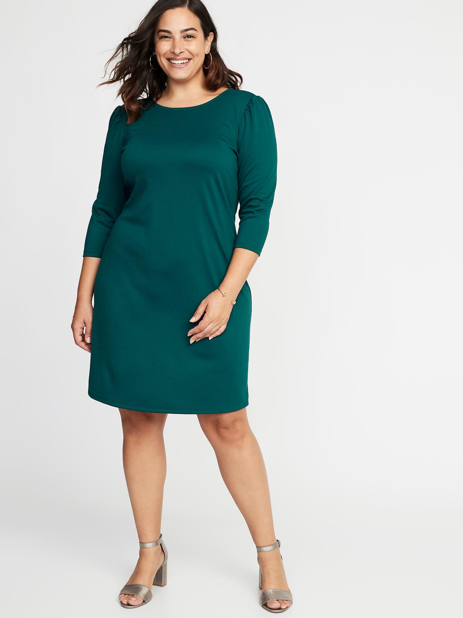 Lyst - Old Navy Plus-size Ponte Knit Shift Dress in Green