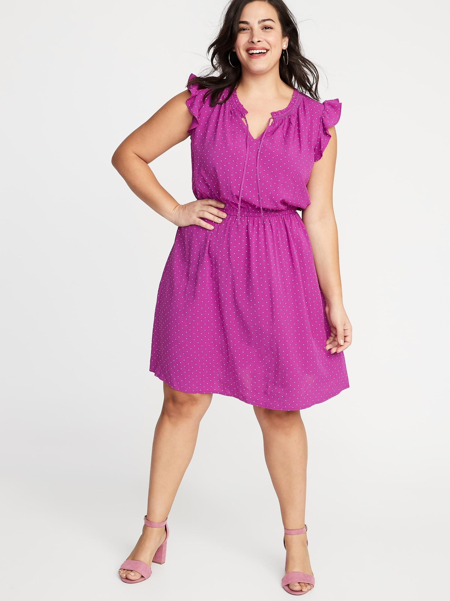 Women\'s Purple Ruffled Waist-defined Plus-size Dress