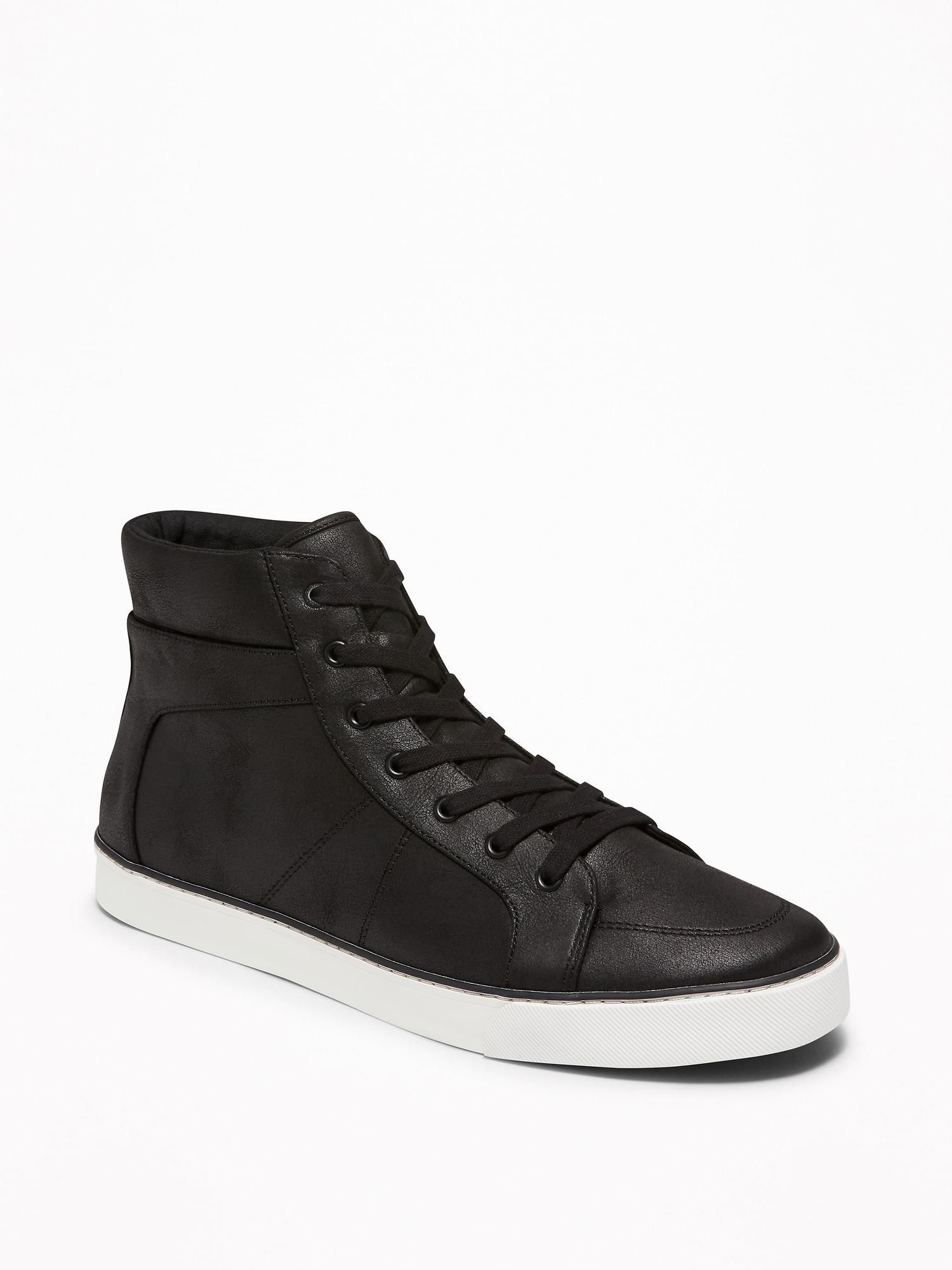 c9f50abbf3269 Old Navy Textured Faux-leather High-tops in Black for Men - Lyst