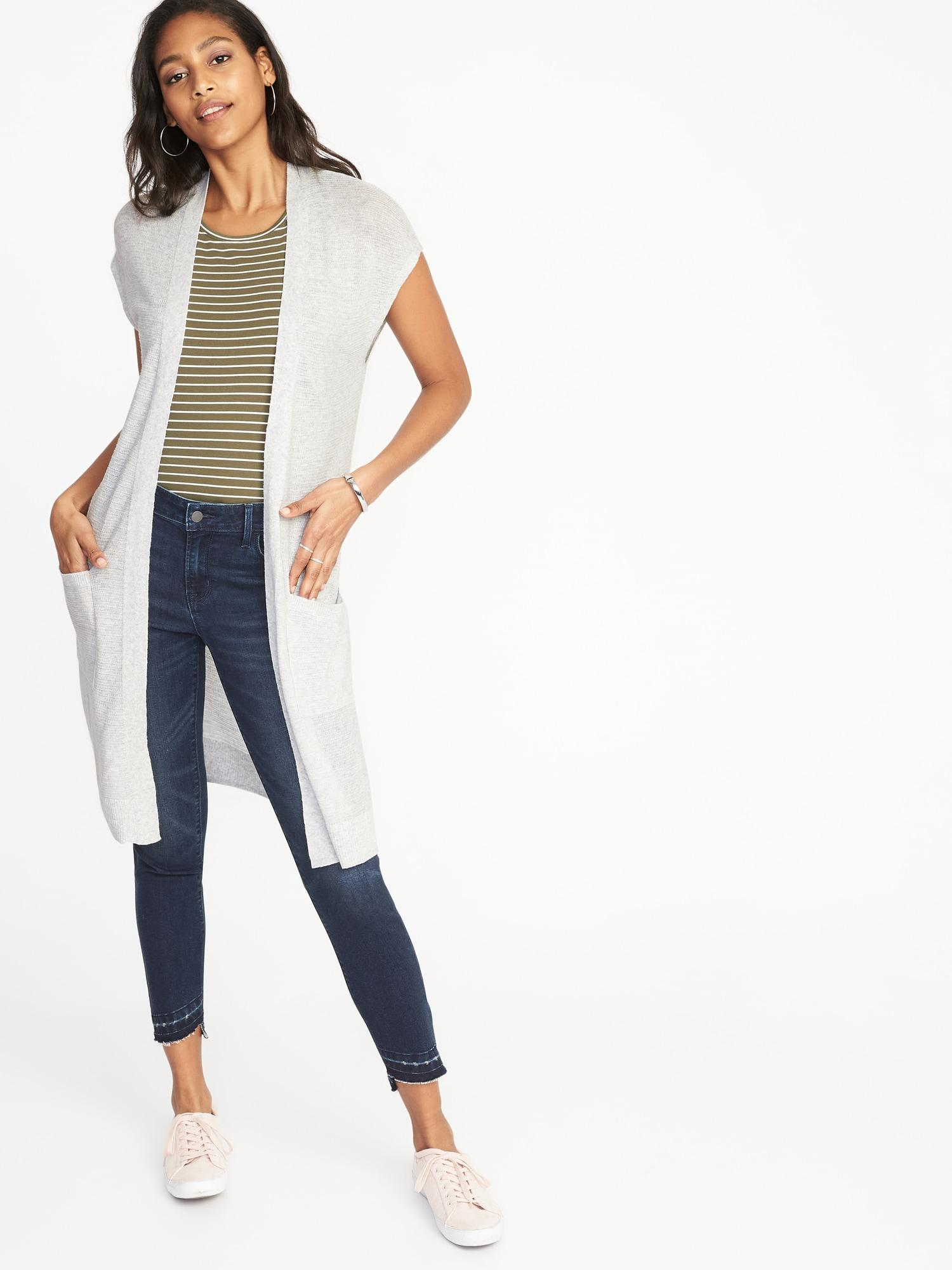 Lyst - Old Navy Super-long Open-front Sweater in Gray b8d12d79e