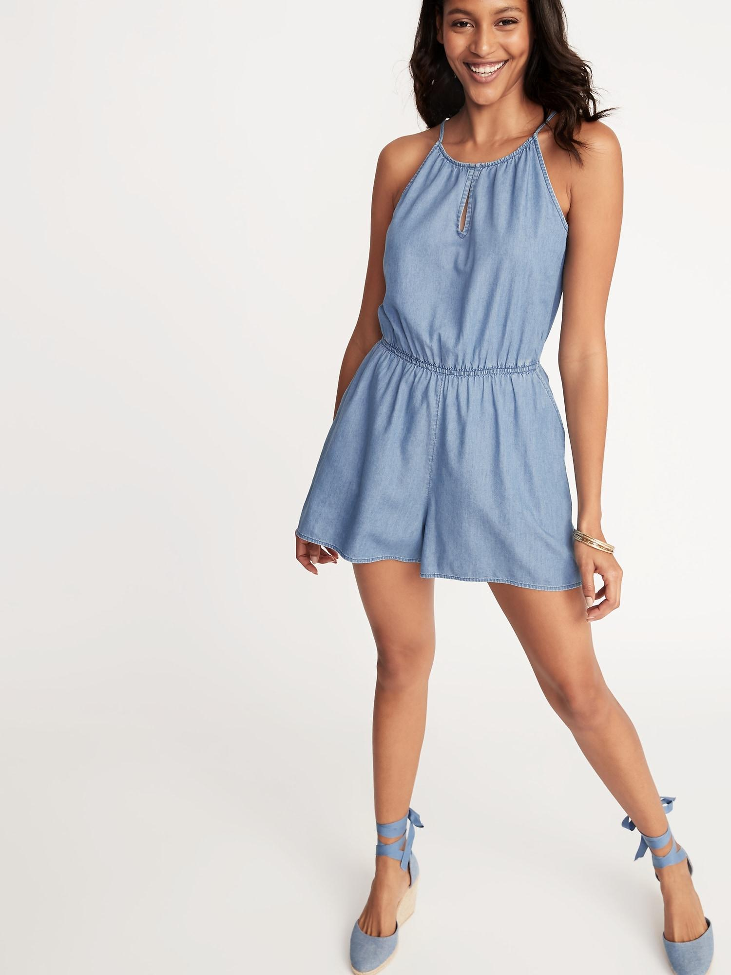 e57b4a3821bd Lyst - Old Navy Chambray Keyhole Romper in Blue