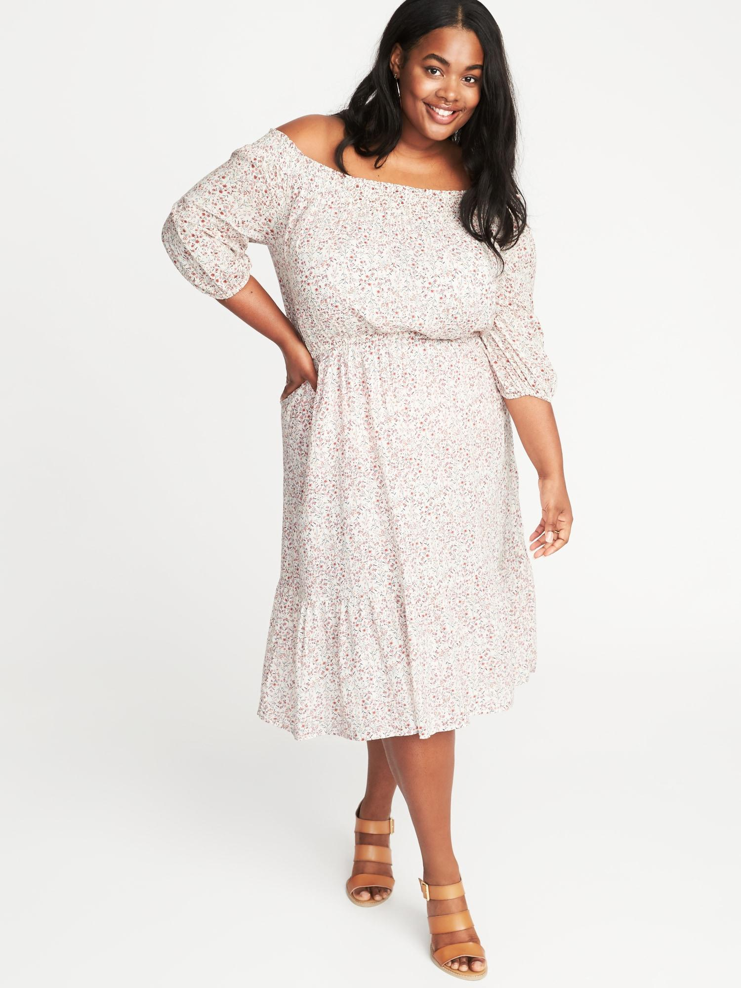 Waist-defined Off-the-shoulder Plus-size Dress