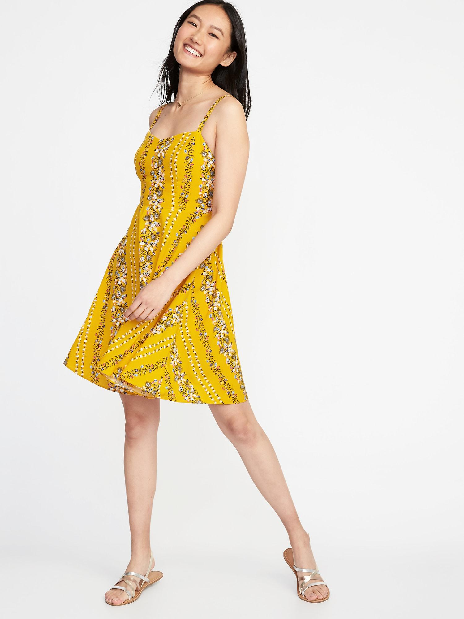 Old Navy Fit Amp Flare Printed Cami Dress In Yellow Lyst