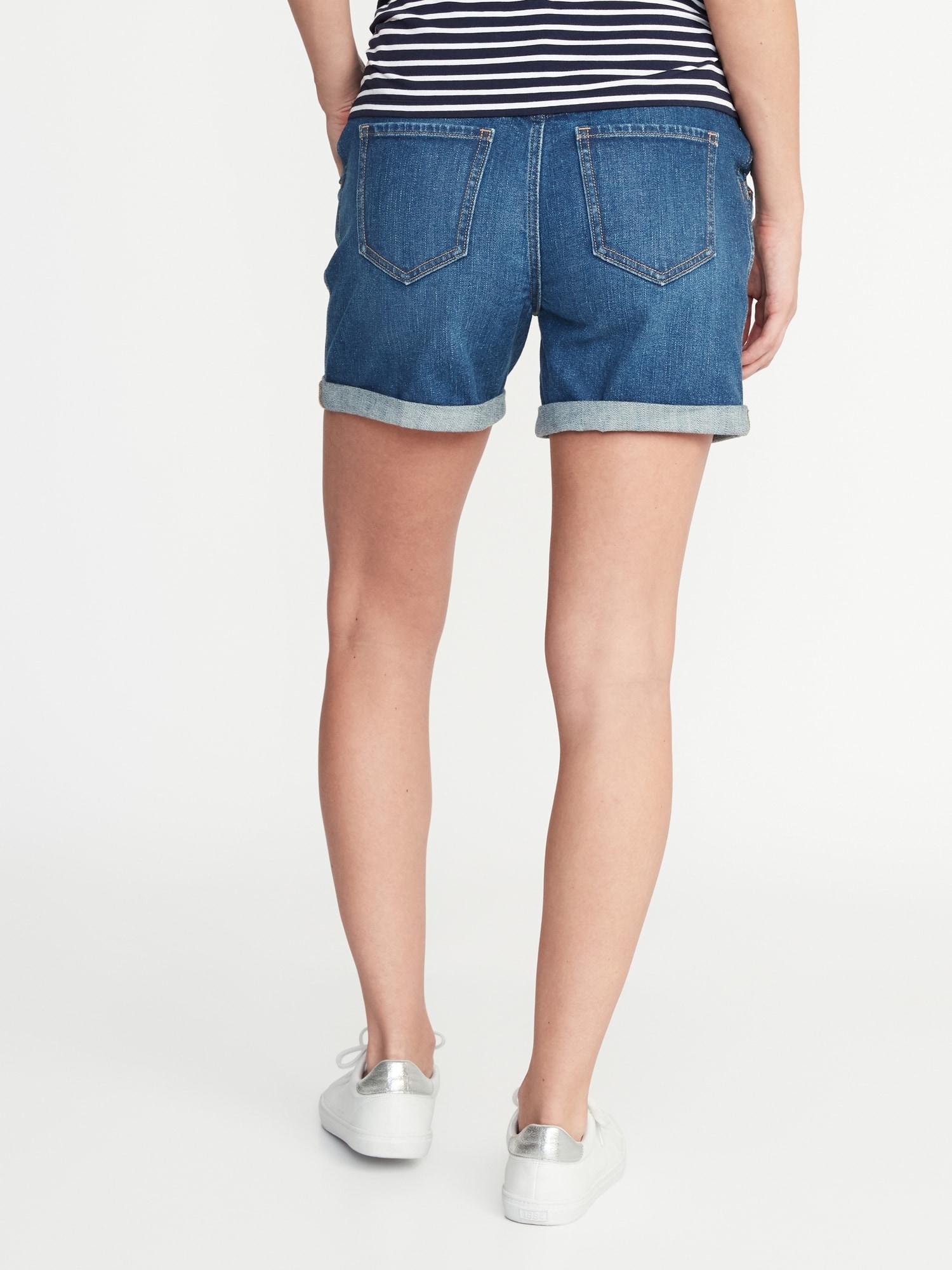 9829180d0e Old Navy. Women's Blue Maternity Front-low Panel Distressed Boyfriend Denim  Shorts