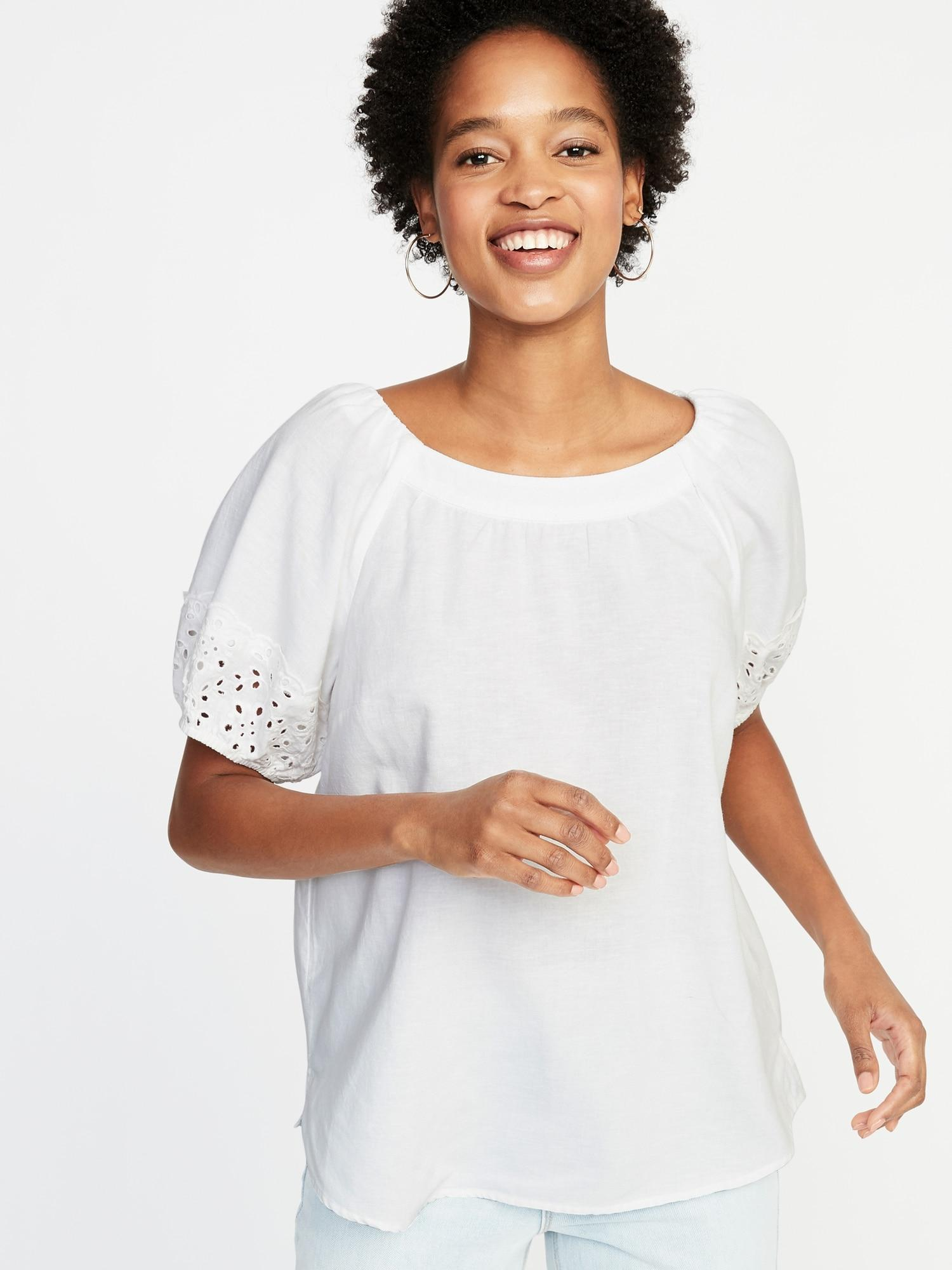 4e3234ea060 Lyst - Old Navy High-neck Cutwork-sleeve Blouse in White