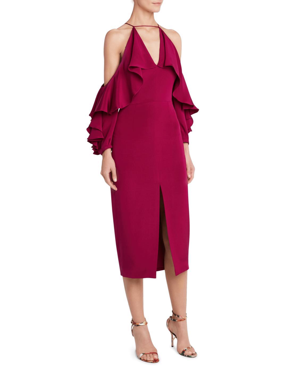 c57123791d3d Cushnie et Ochs Aura Cold Shoulder Dress in Red - Lyst