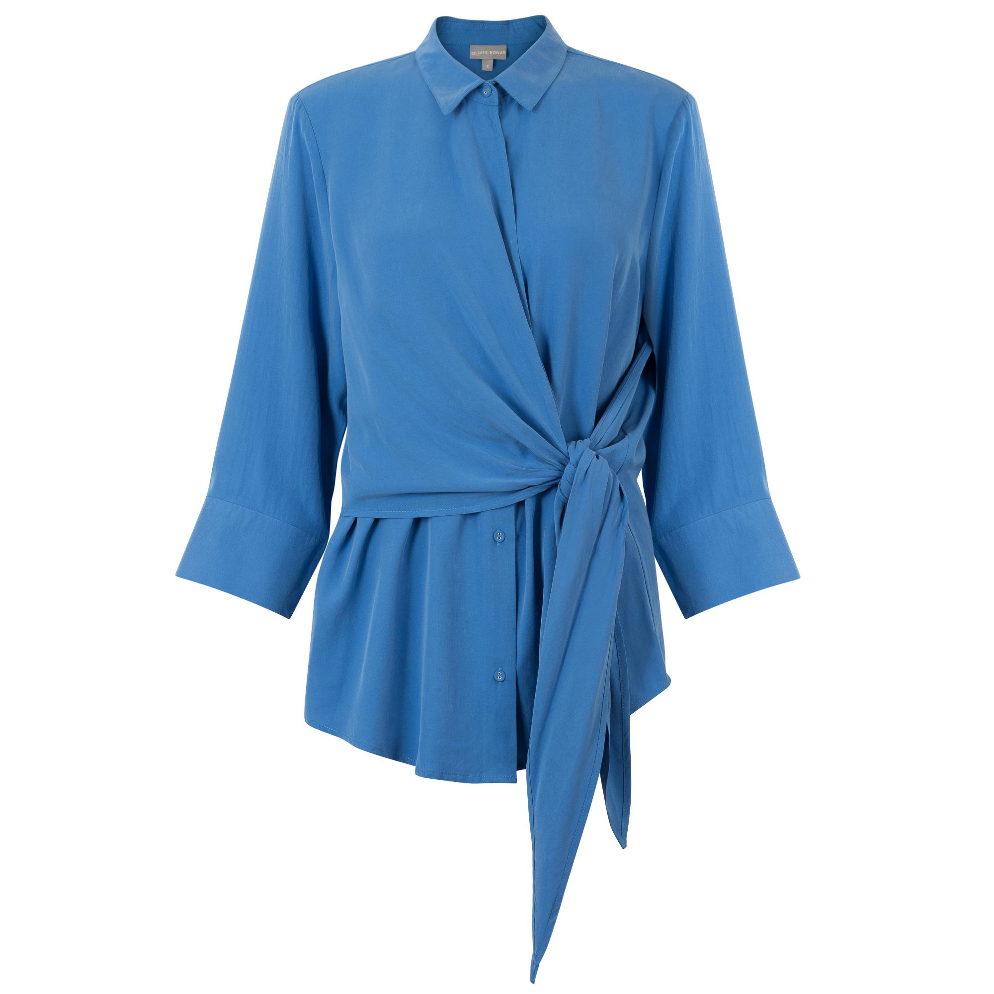 Lyst - Oliver Bonas Muted Tie Wrap Shirt in Blue