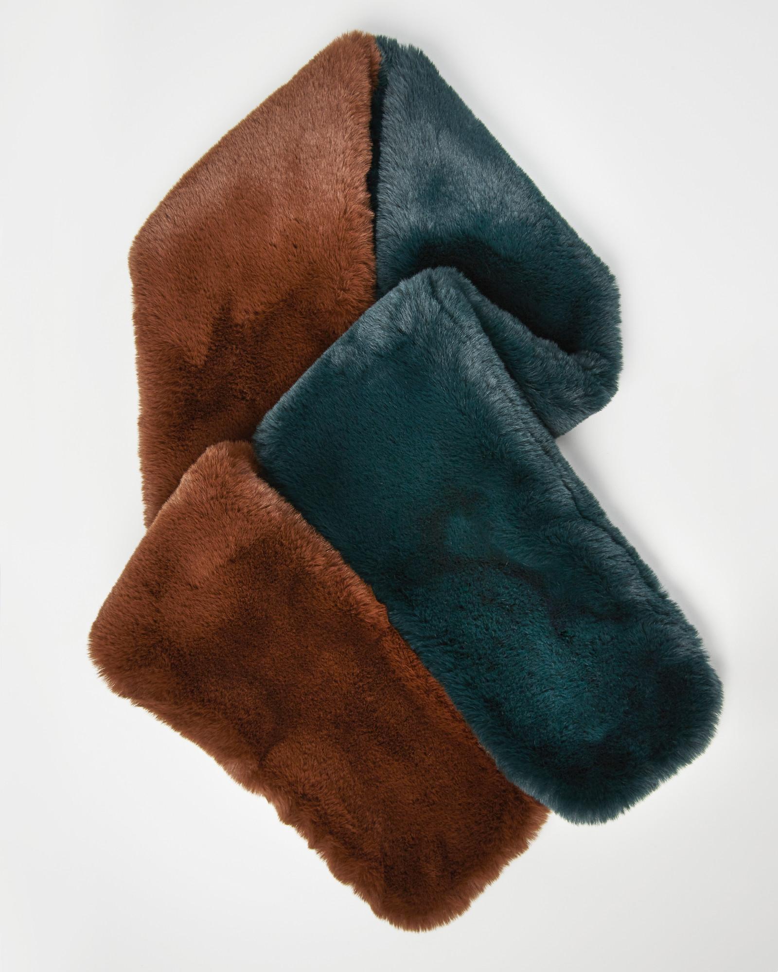 Oliver Bonas Women Faux Fur Brown Ankle Slipper Socks