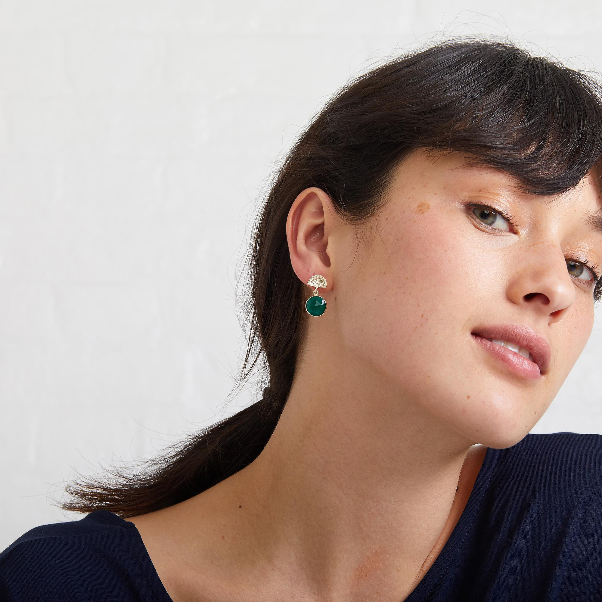 Lyst - Oliver Bonas Marisol Semi Circle & Round Stone Stud Earrings ...