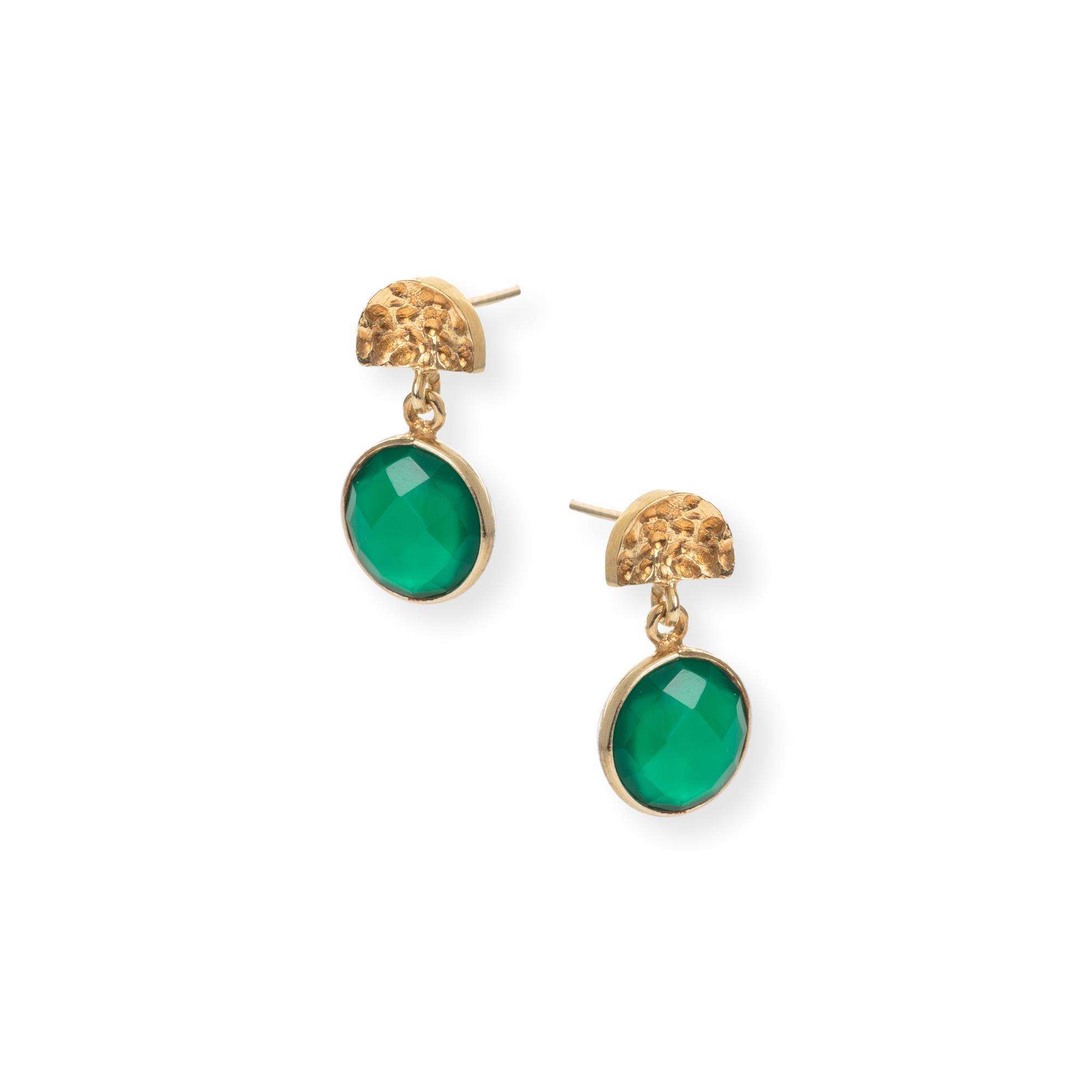 Women S Green Marisol Semi Circle Round Stone Gold Plated Drop Earrings