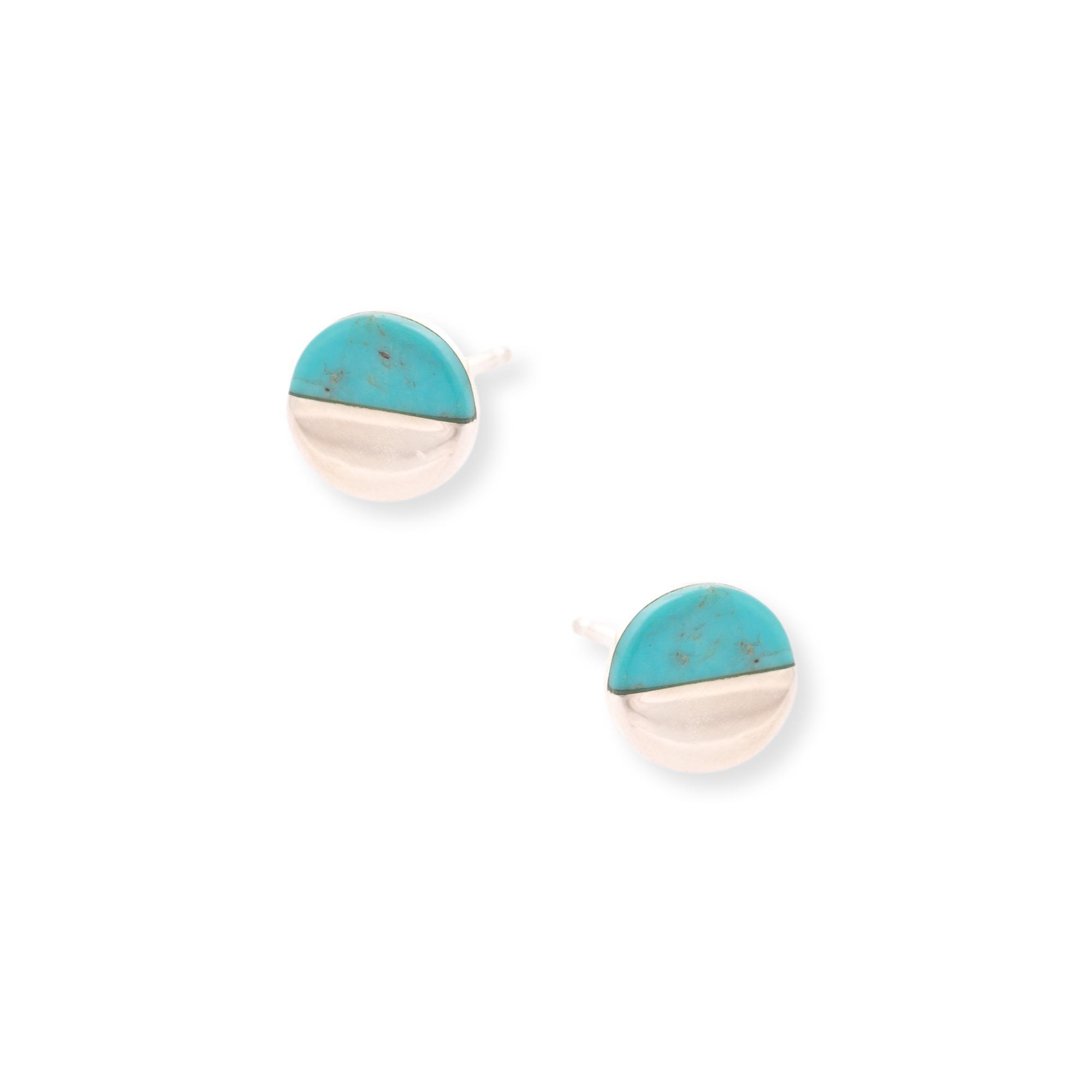 Lyst - Oliver Bonas Lyca Semi Circle Silver Stud Earrings in Metallic