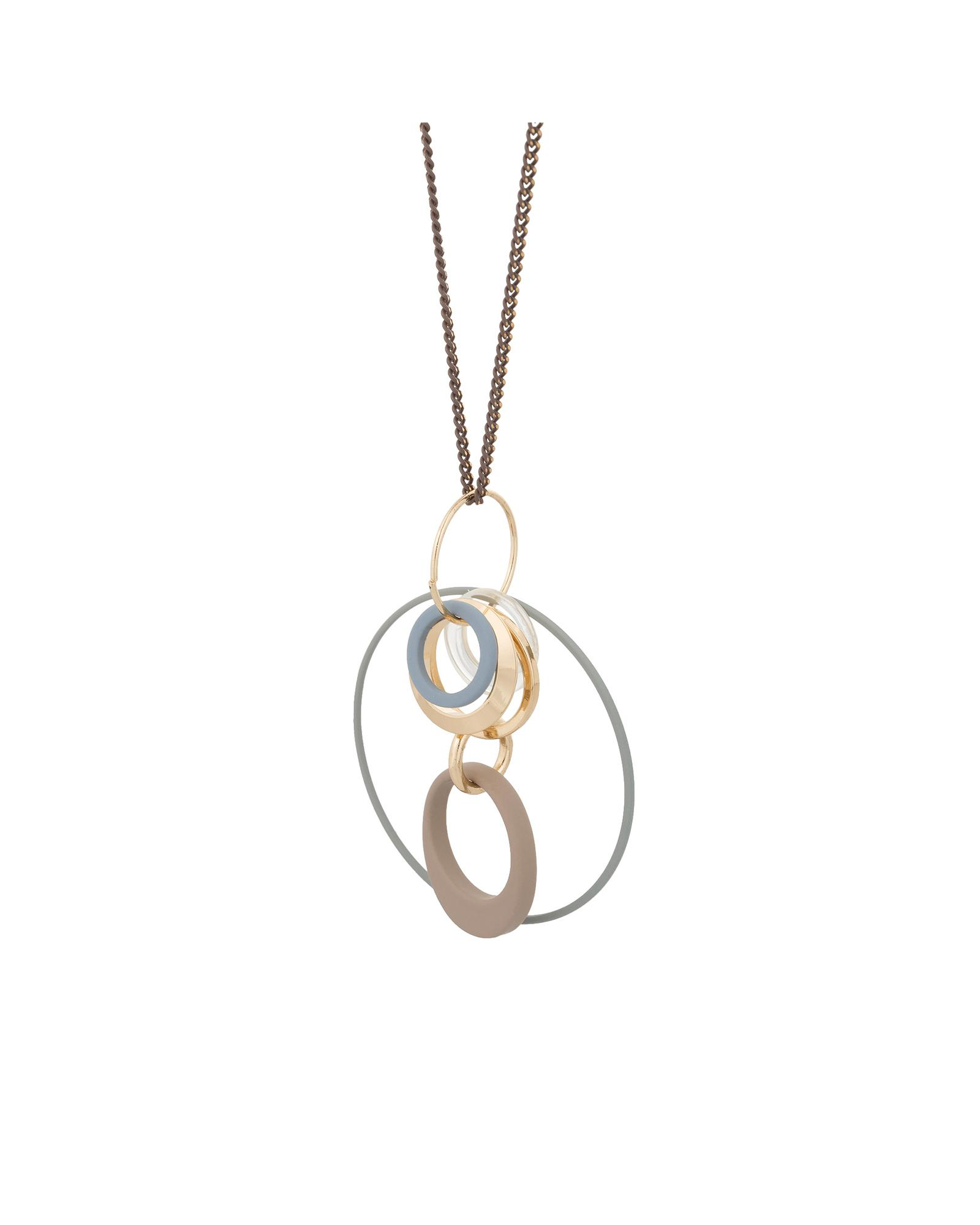 Oliver Bonas Rubber Maligne Interlink Circles Pendant Necklace in Gold (Metallic)