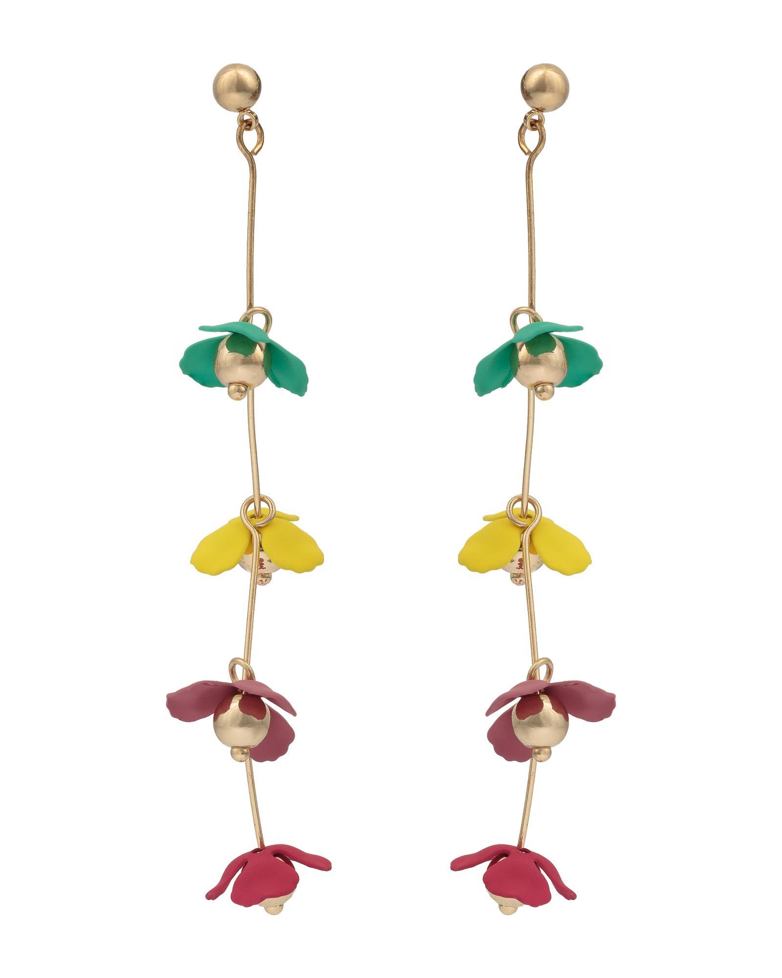 56f70c014 Lyst - Oliver Bonas Daisy Coated Flower Drop Earrings in Metallic