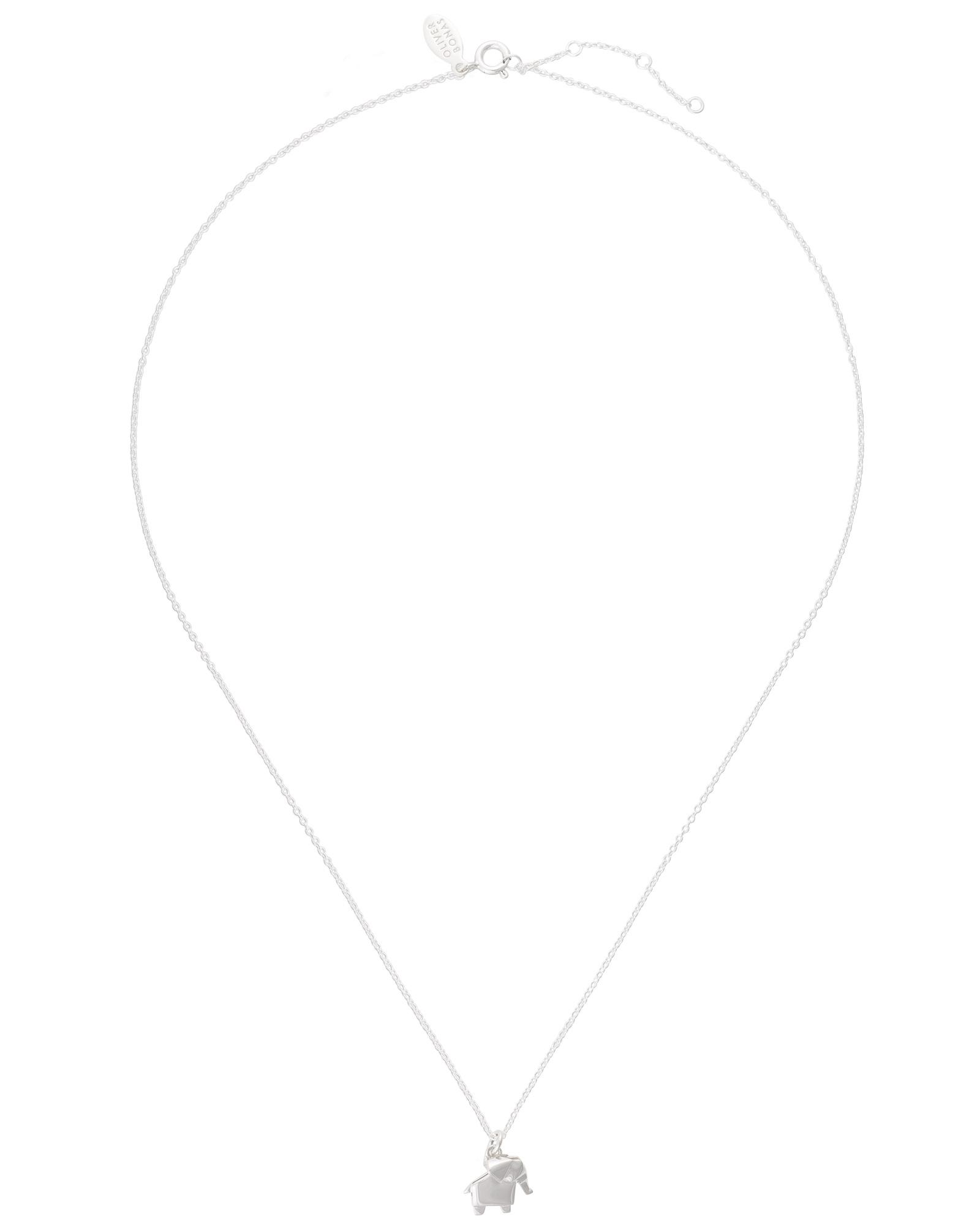 Oliver Bonas Silver Origami Elephant Necklace in Metallic