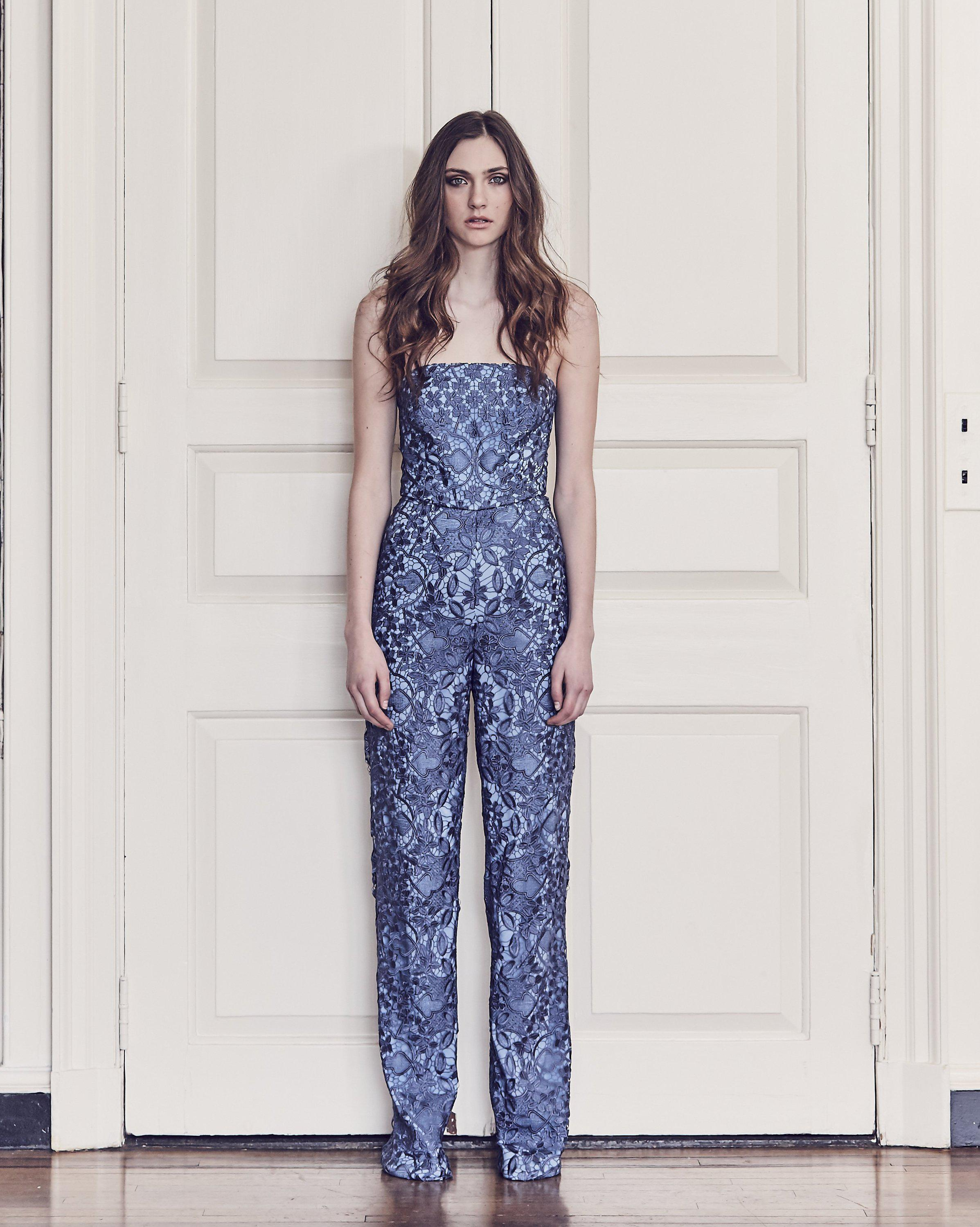5a7891c222f Lyst - MESTIZA NEW YORK Retro Lace Strapless Jumpsuit in Blue